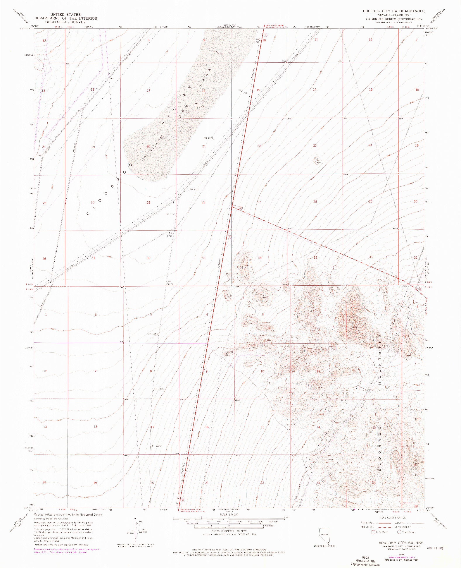 USGS 1:24000-SCALE QUADRANGLE FOR BOULDER CITY SW, NV 1958