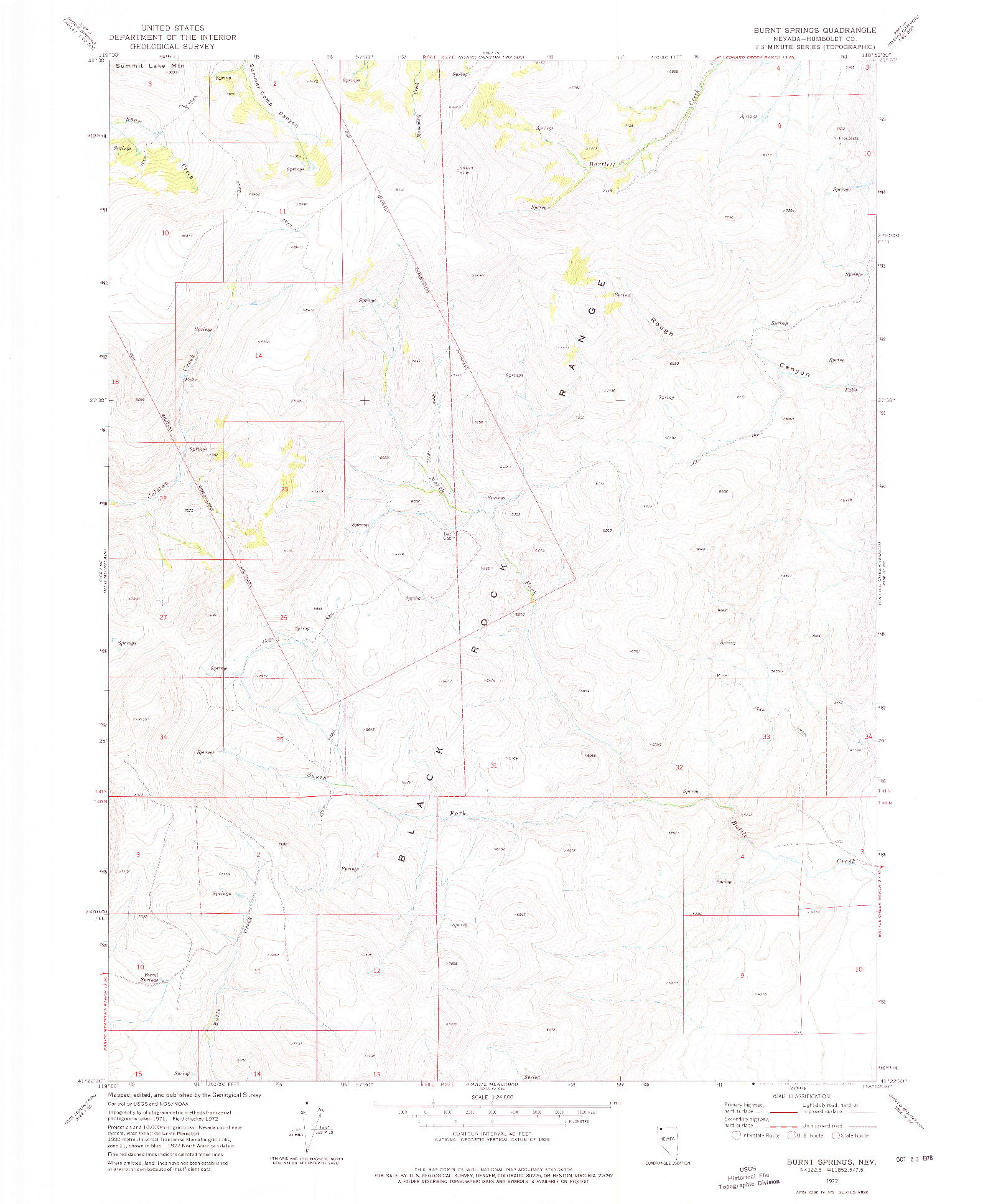 USGS 1:24000-SCALE QUADRANGLE FOR BURNT SPRINGS, NV 1972