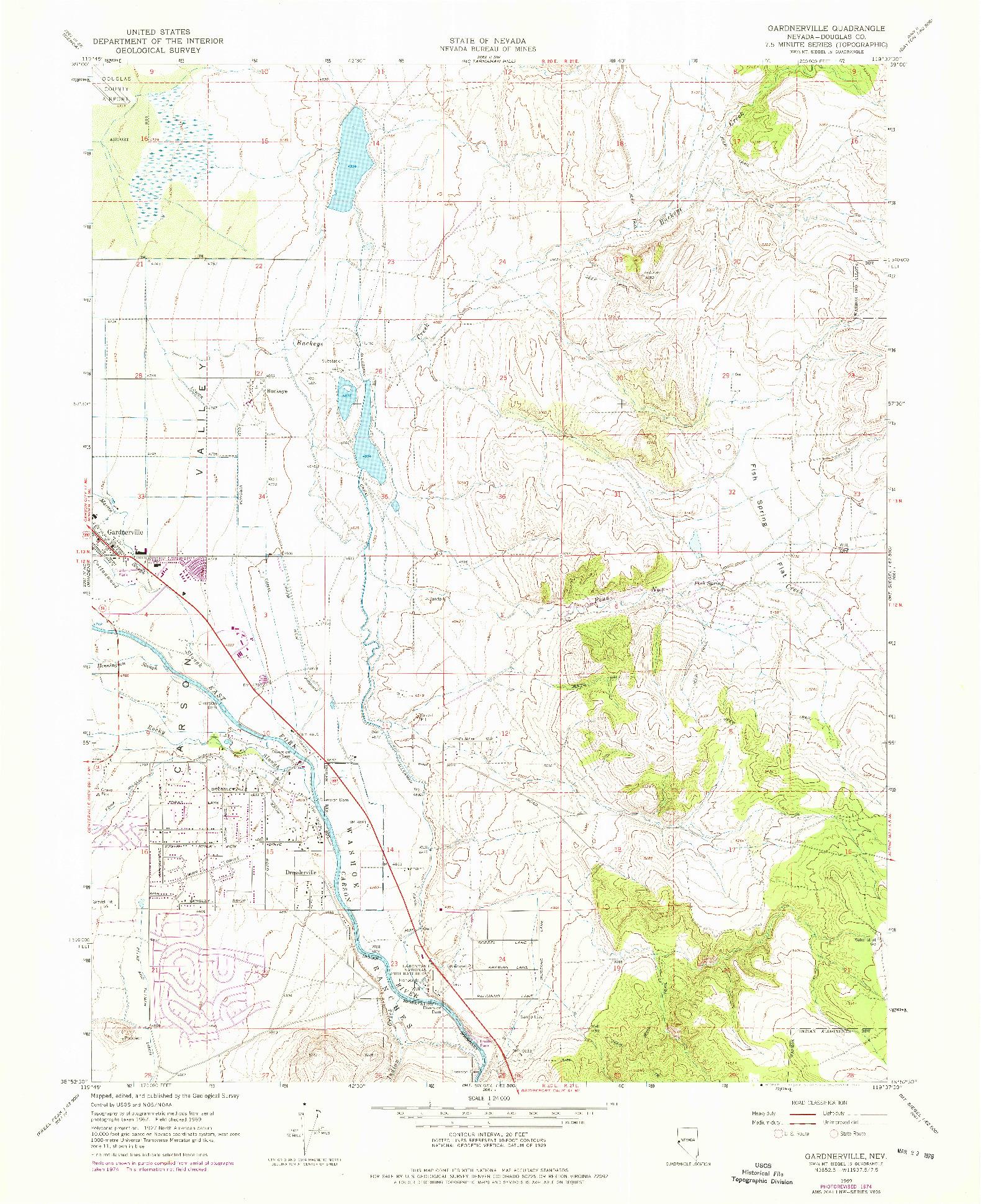 USGS 1:24000-SCALE QUADRANGLE FOR GARDNERVILLE, NV 1969