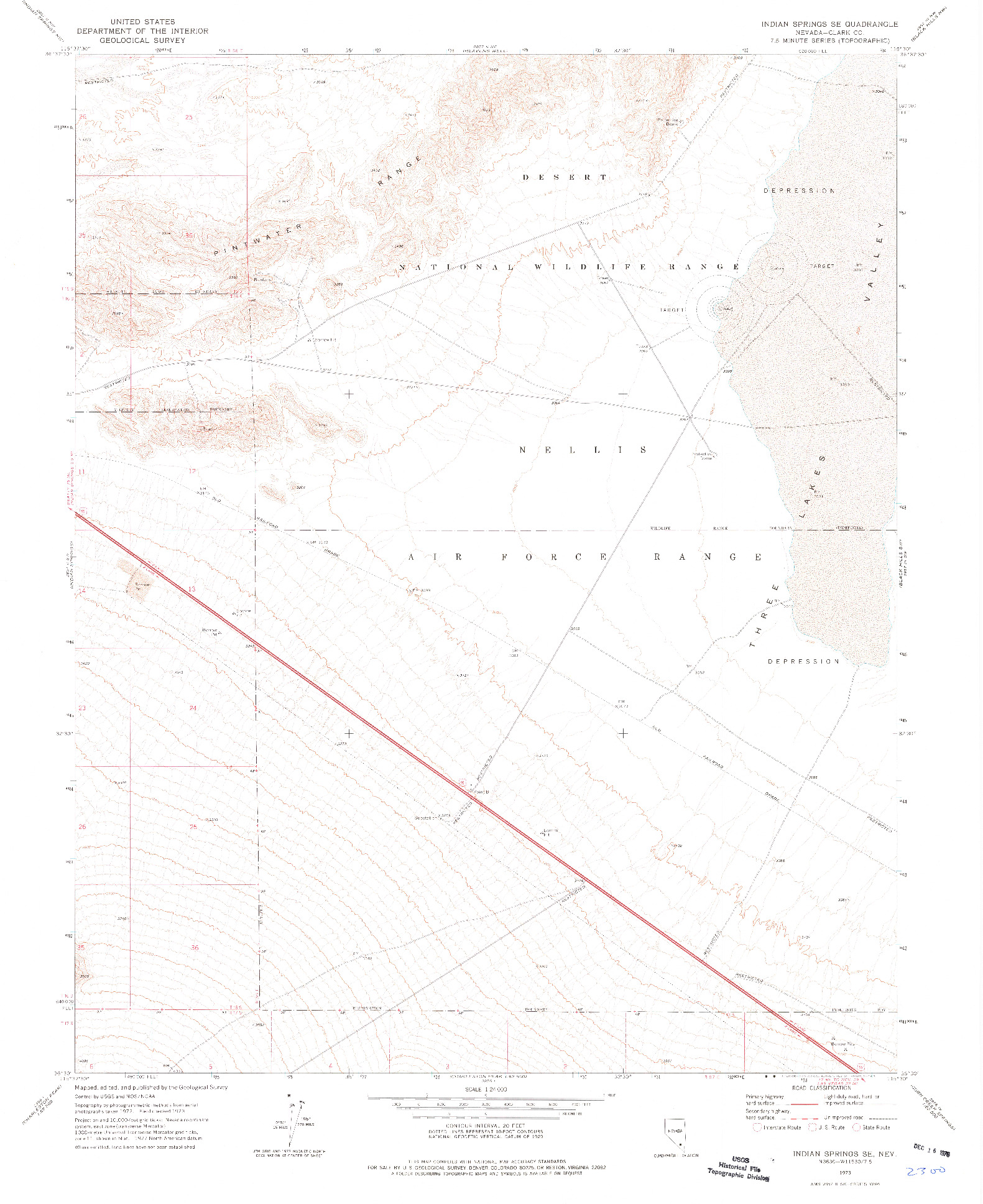 USGS 1:24000-SCALE QUADRANGLE FOR INDIAN SPRINGS SE, NV 1973