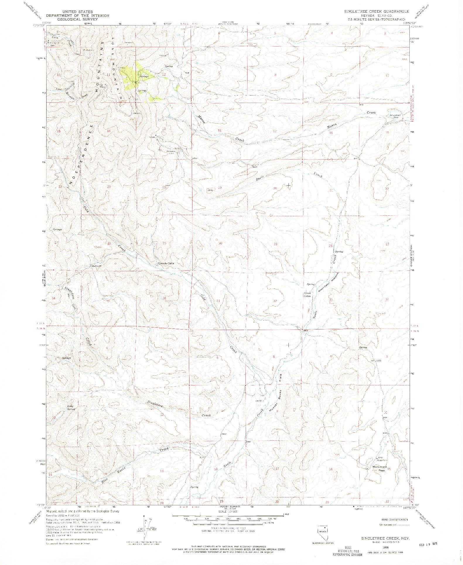 USGS 1:24000-SCALE QUADRANGLE FOR SINGLETREE CREEK, NV 1958