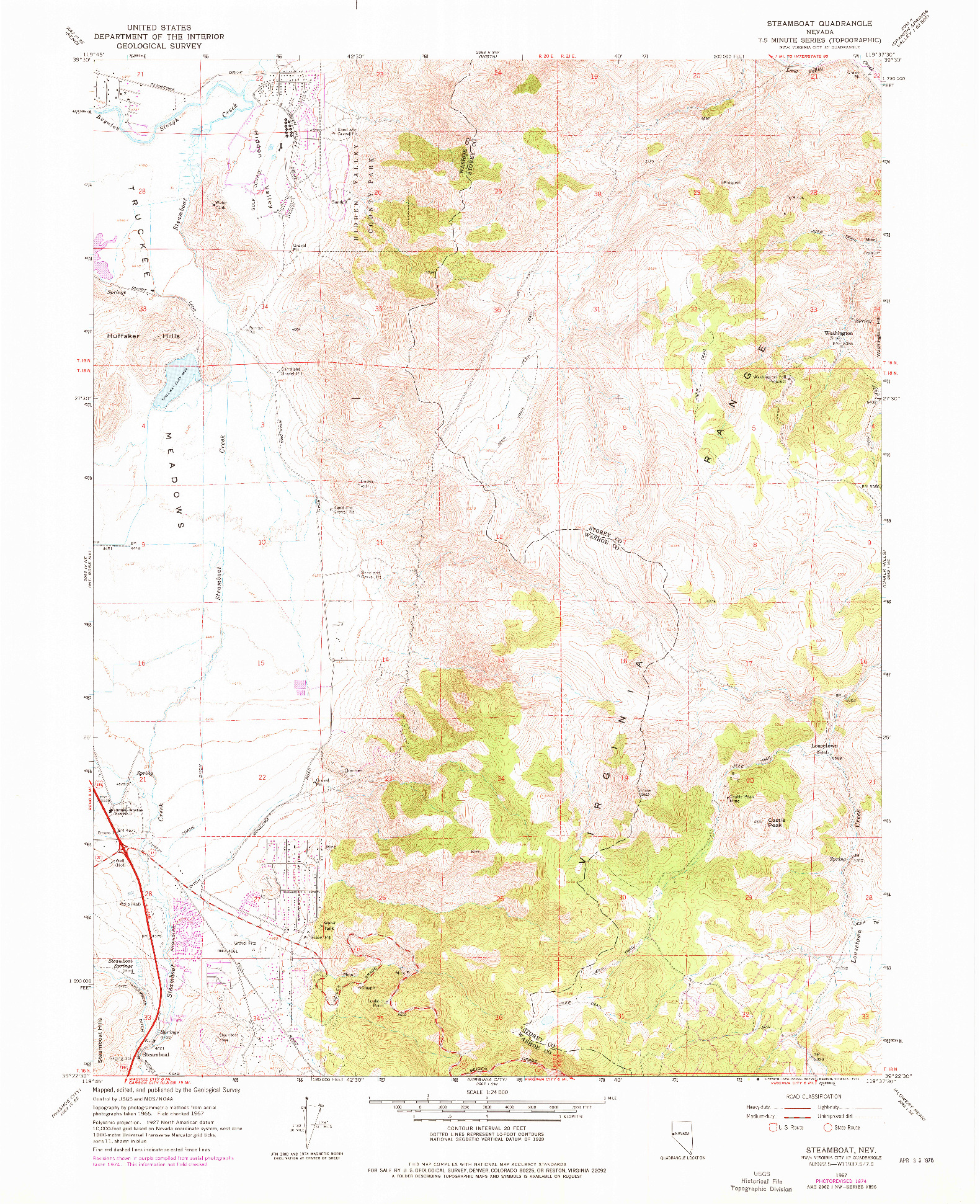 USGS 1:24000-SCALE QUADRANGLE FOR STEAMBOAT, NV 1967