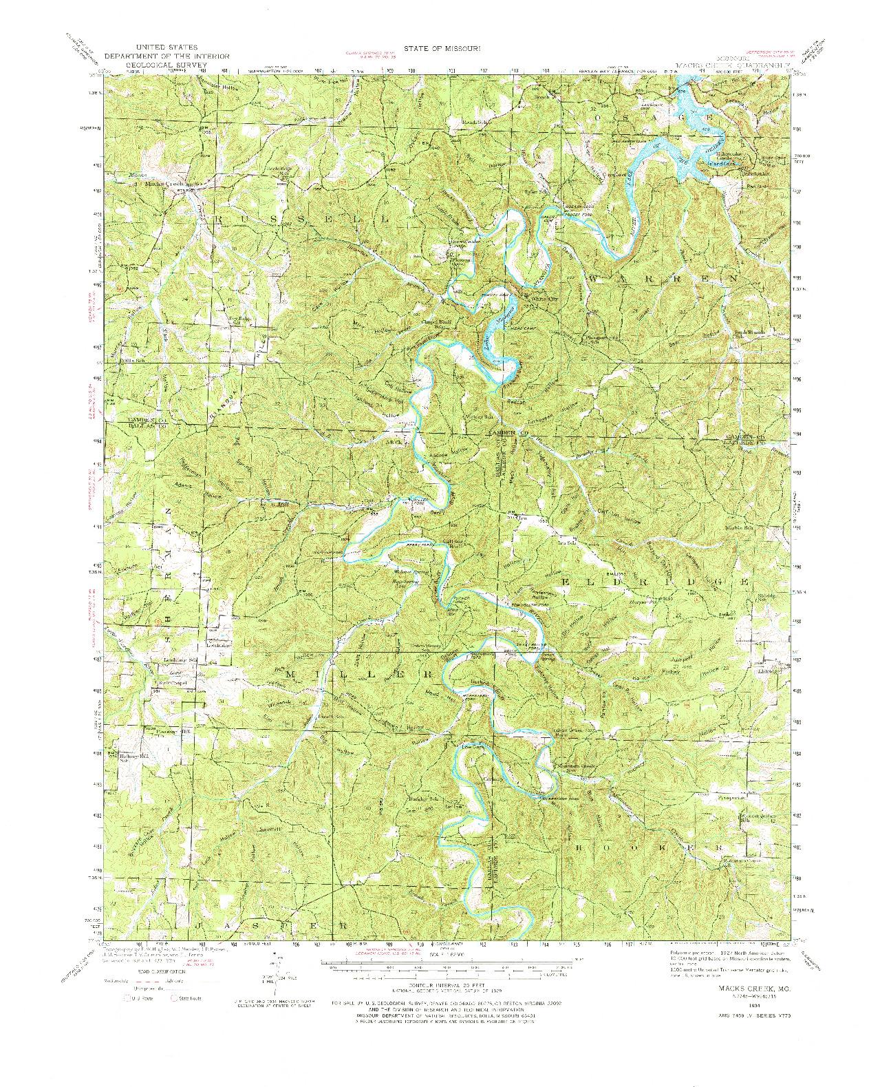USGS 1:62500-SCALE QUADRANGLE FOR MACKS CREEK, MO 1934