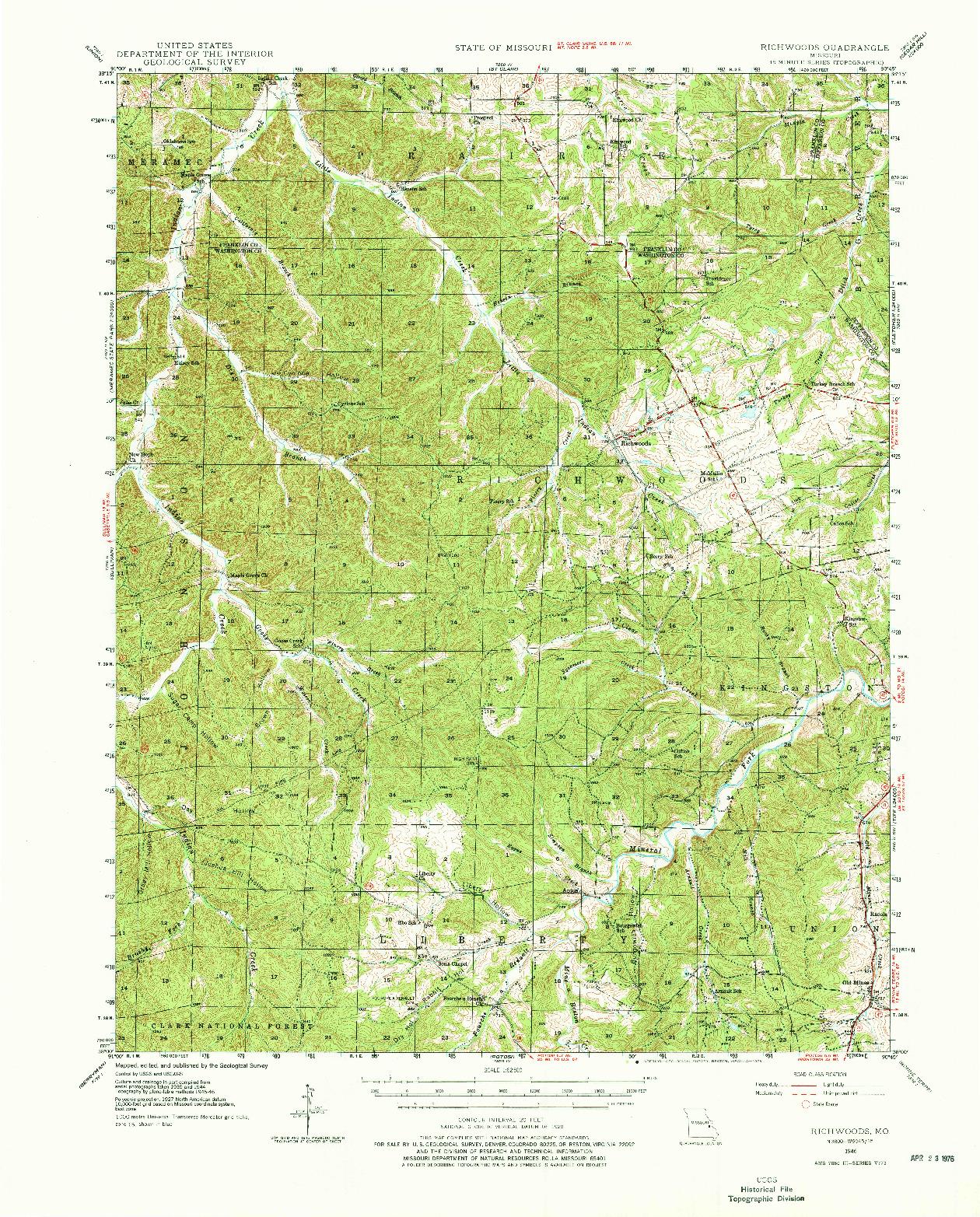 USGS 1:62500-SCALE QUADRANGLE FOR RICHWOODS, MO 1946