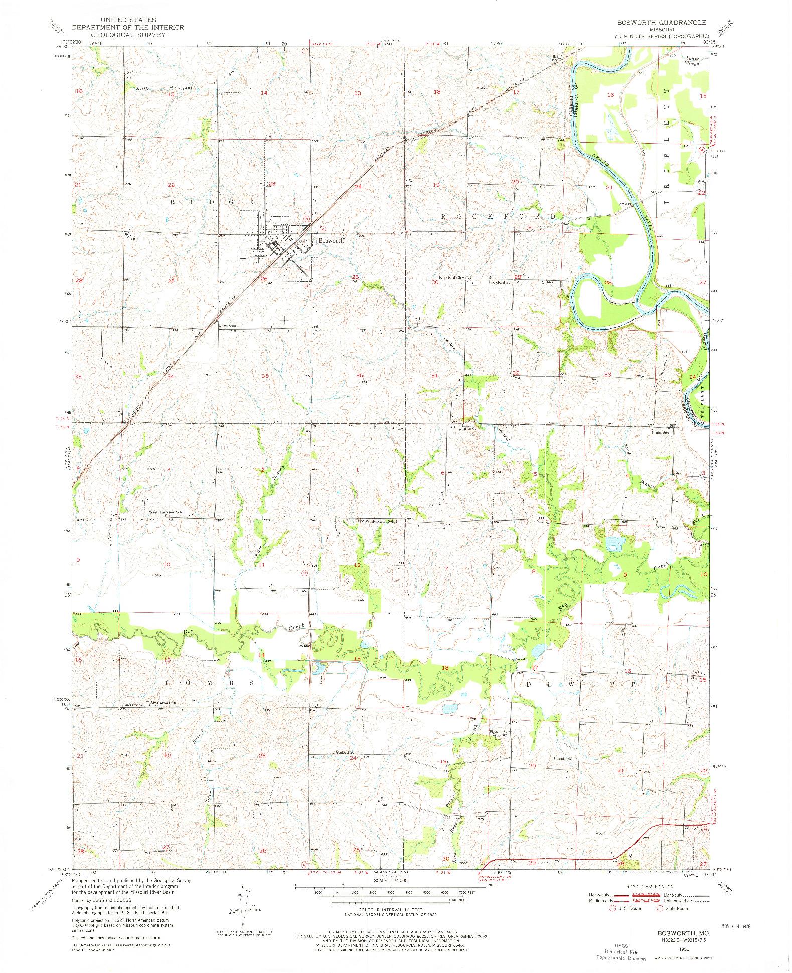 USGS 1:24000-SCALE QUADRANGLE FOR BOSWORTH, MO 1951