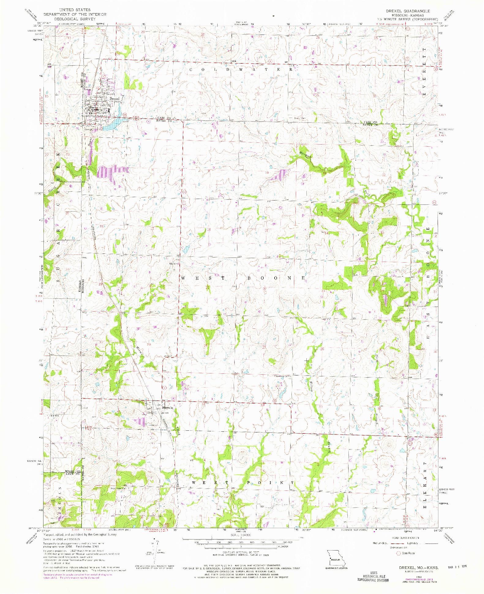 USGS 1:24000-SCALE QUADRANGLE FOR DREXEL, MO 1961