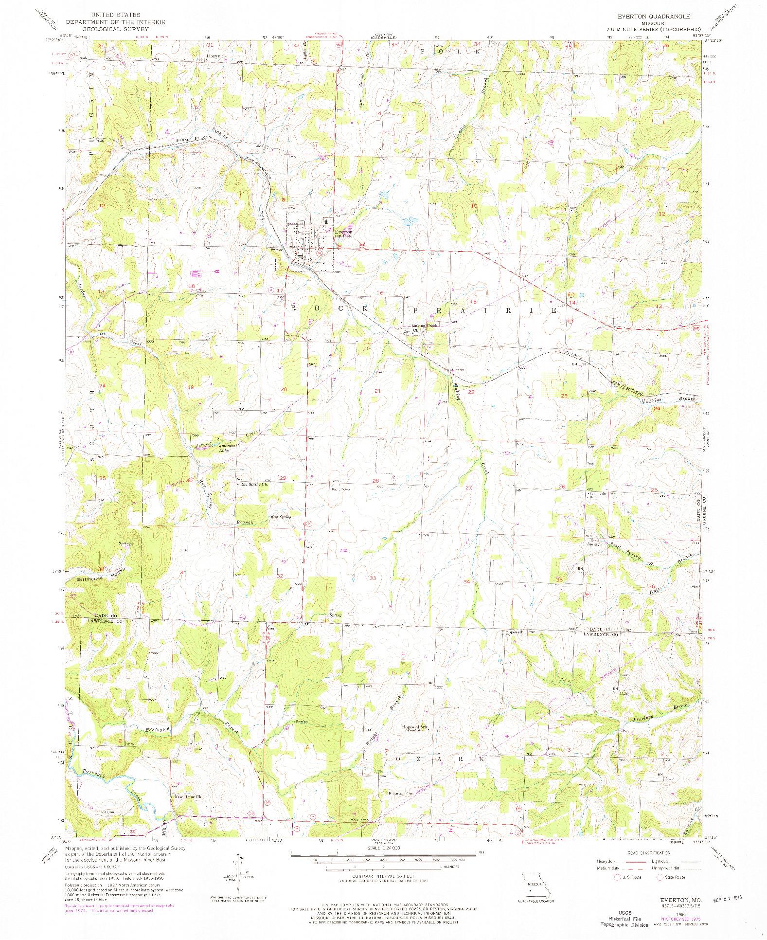 USGS 1:24000-SCALE QUADRANGLE FOR EVERTON, MO 1956