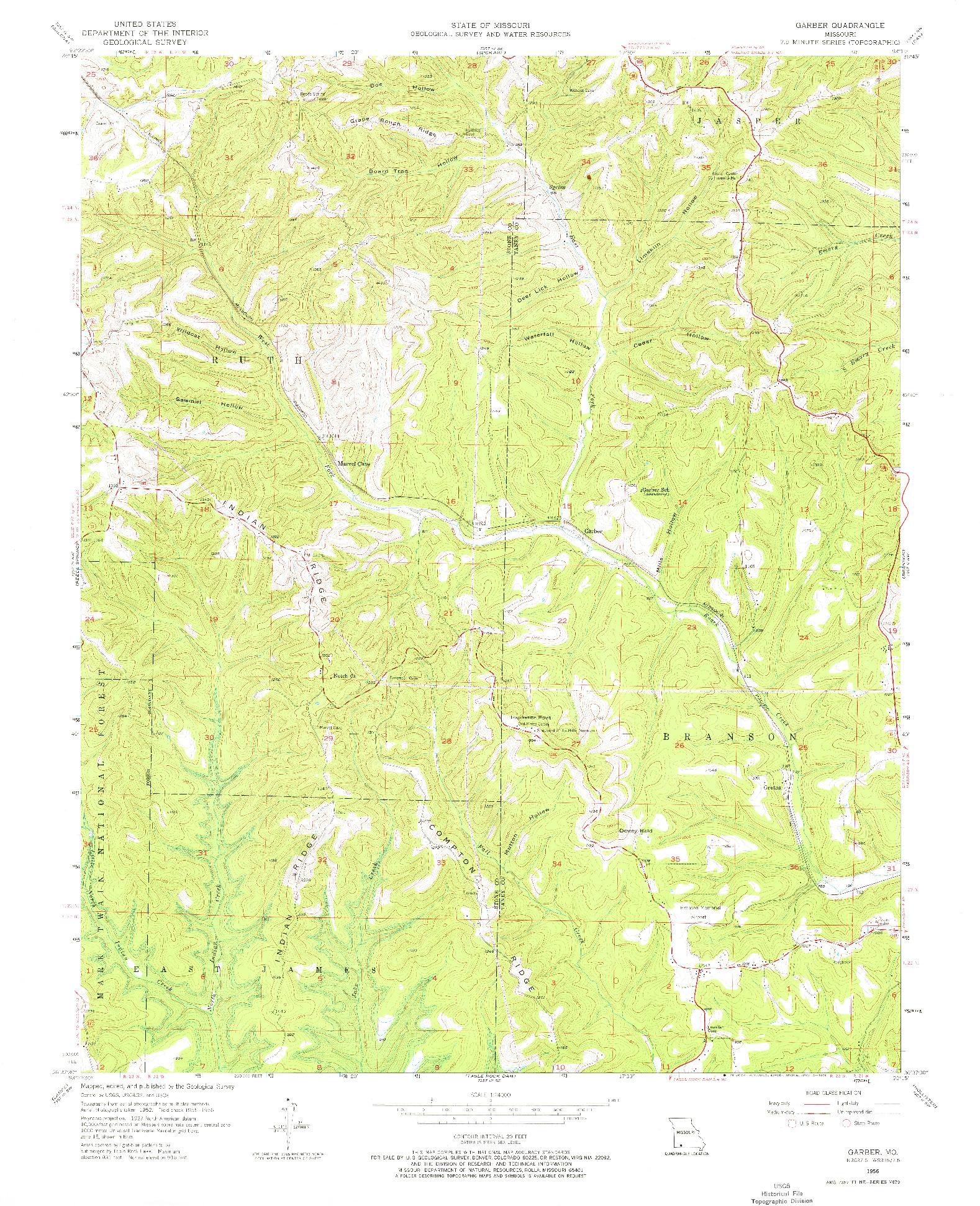 USGS 1:24000-SCALE QUADRANGLE FOR GARBER, MO 1956