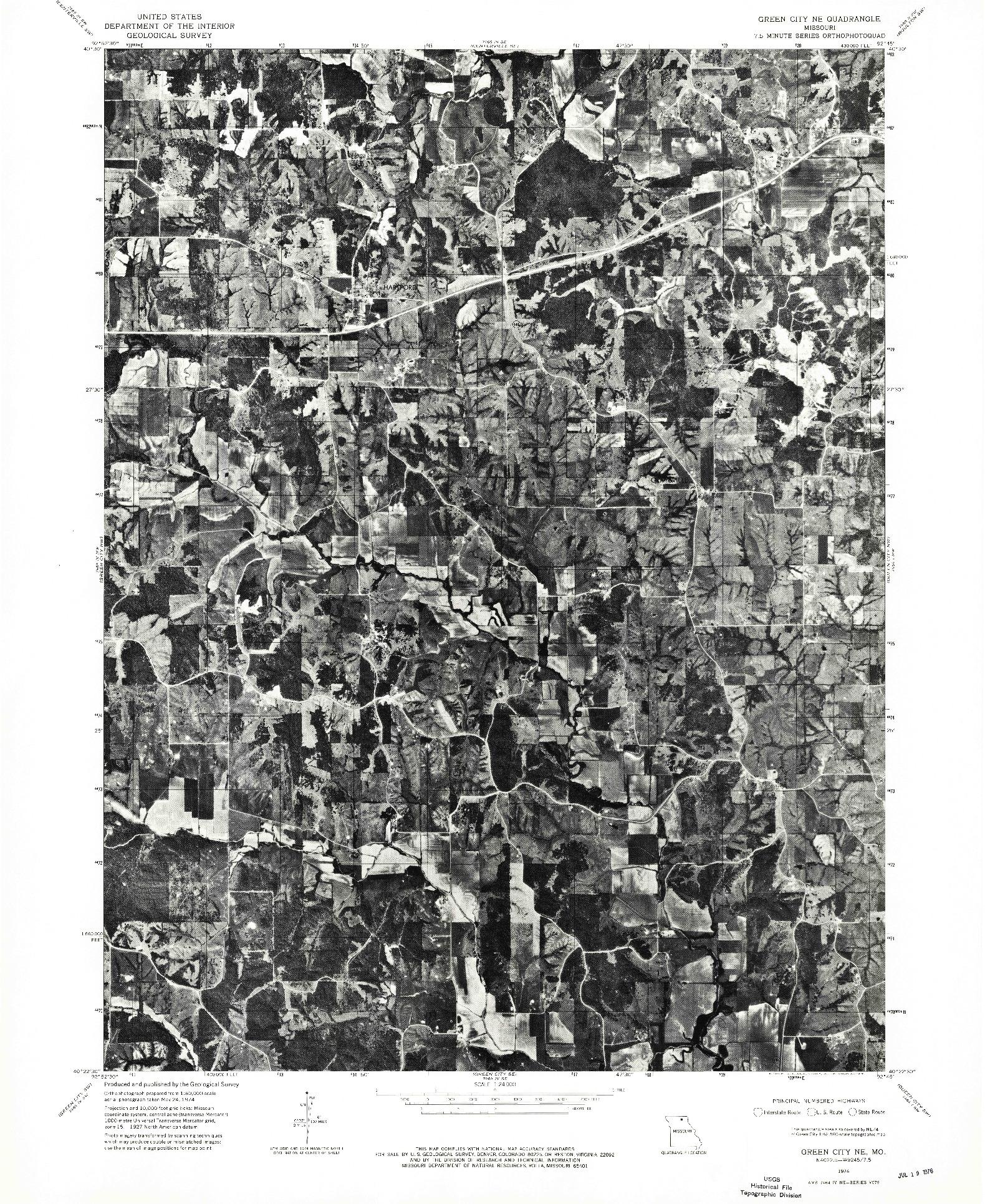 USGS 1:24000-SCALE QUADRANGLE FOR GREEN CITY NE, MO 1974