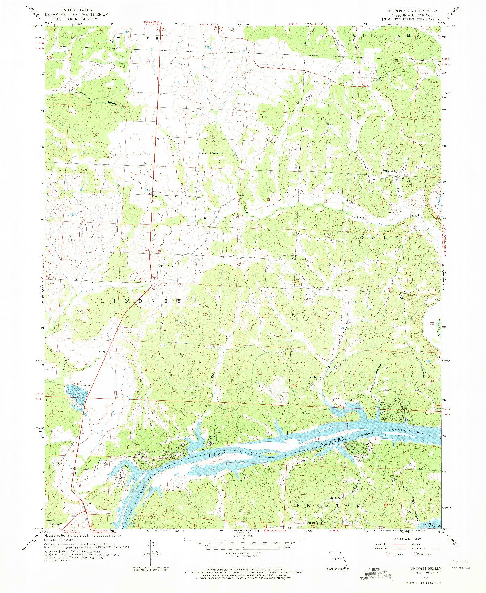USGS 1:24000-SCALE QUADRANGLE FOR LINCOLN SE, MO 1959