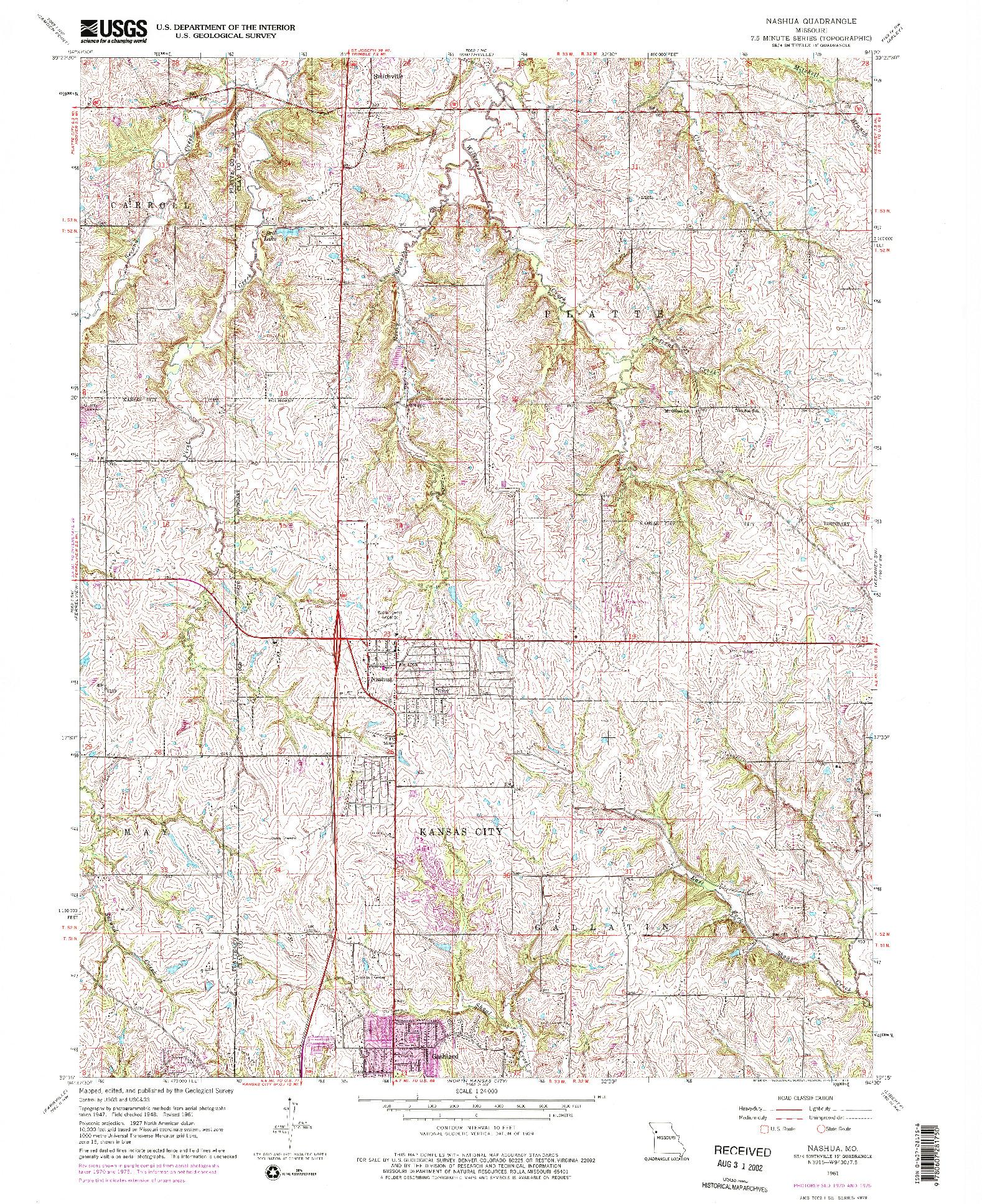 USGS 1:24000-SCALE QUADRANGLE FOR NASHUA, MO 1961