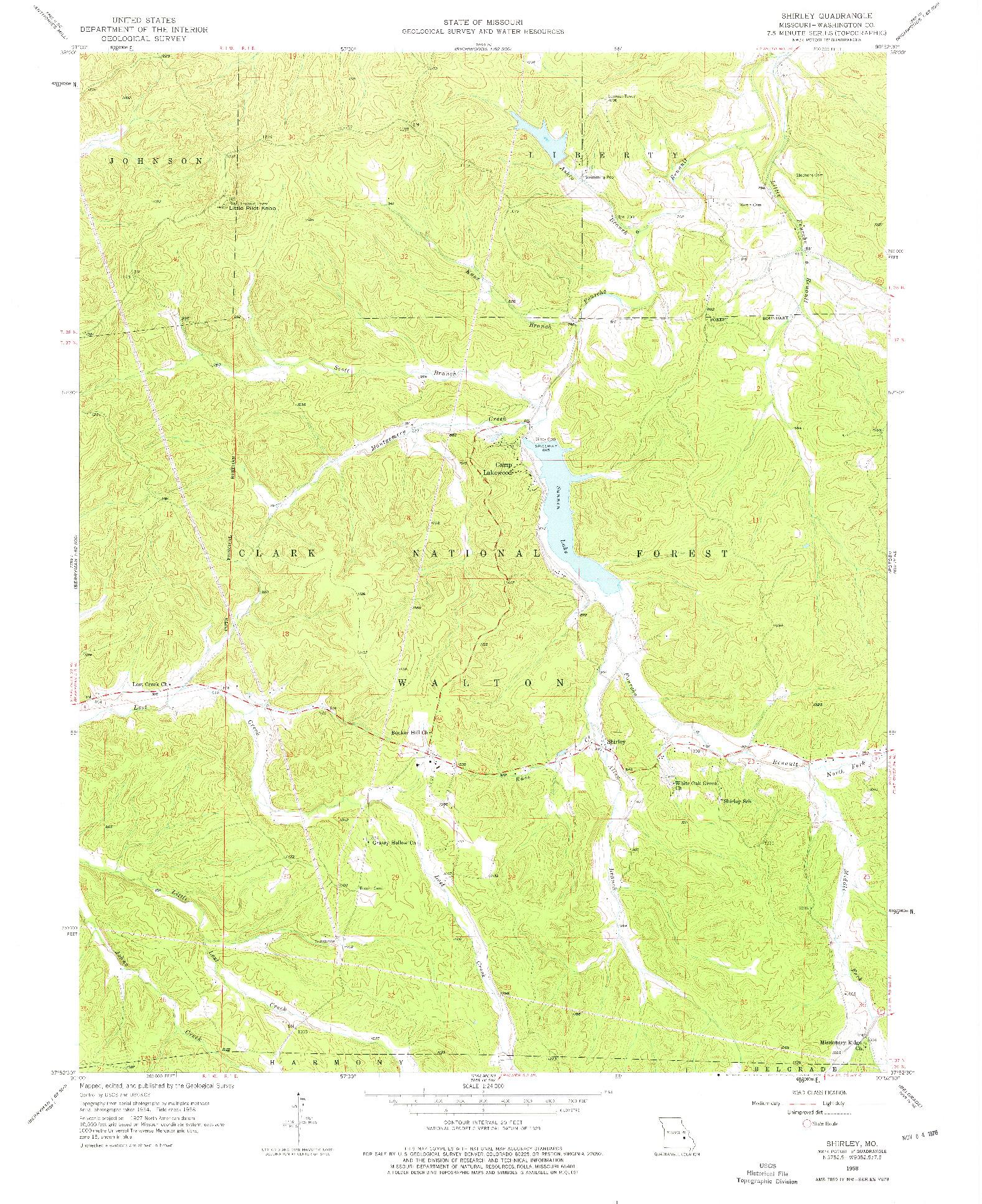 USGS 1:24000-SCALE QUADRANGLE FOR SHIRLEY, MO 1958
