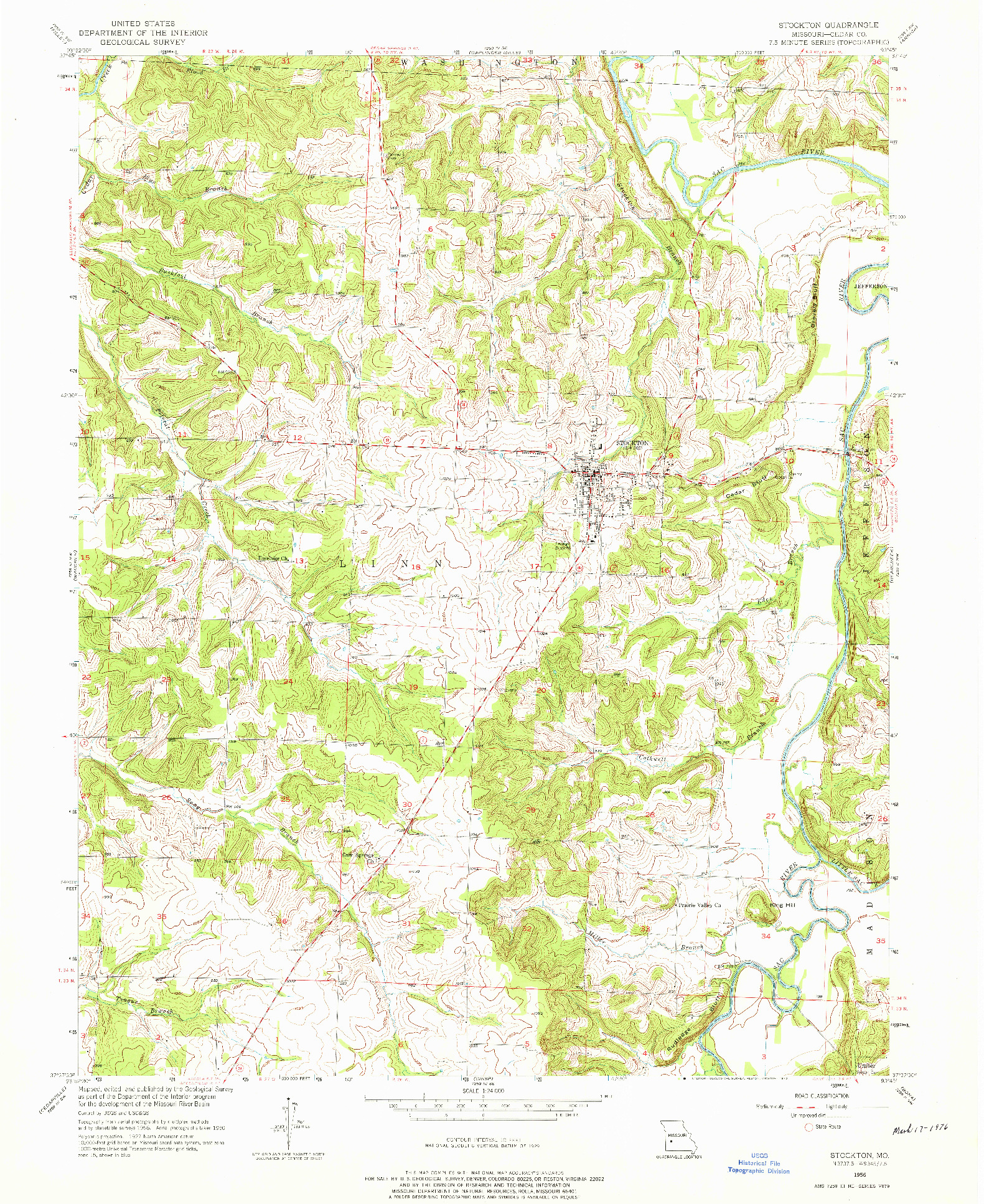 USGS 1:24000-SCALE QUADRANGLE FOR STOCKTON, MO 1956