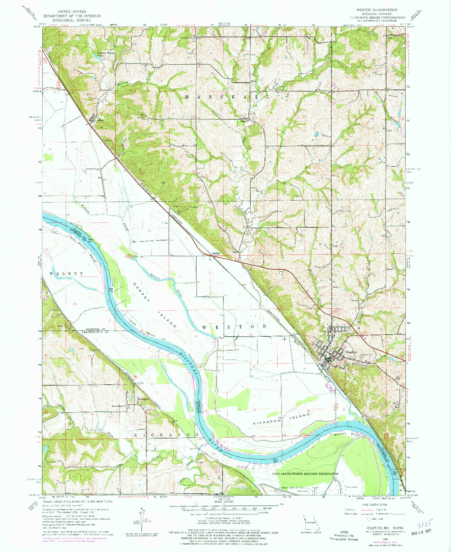 USGS 1:24000-SCALE QUADRANGLE FOR WESTON, MO 1961