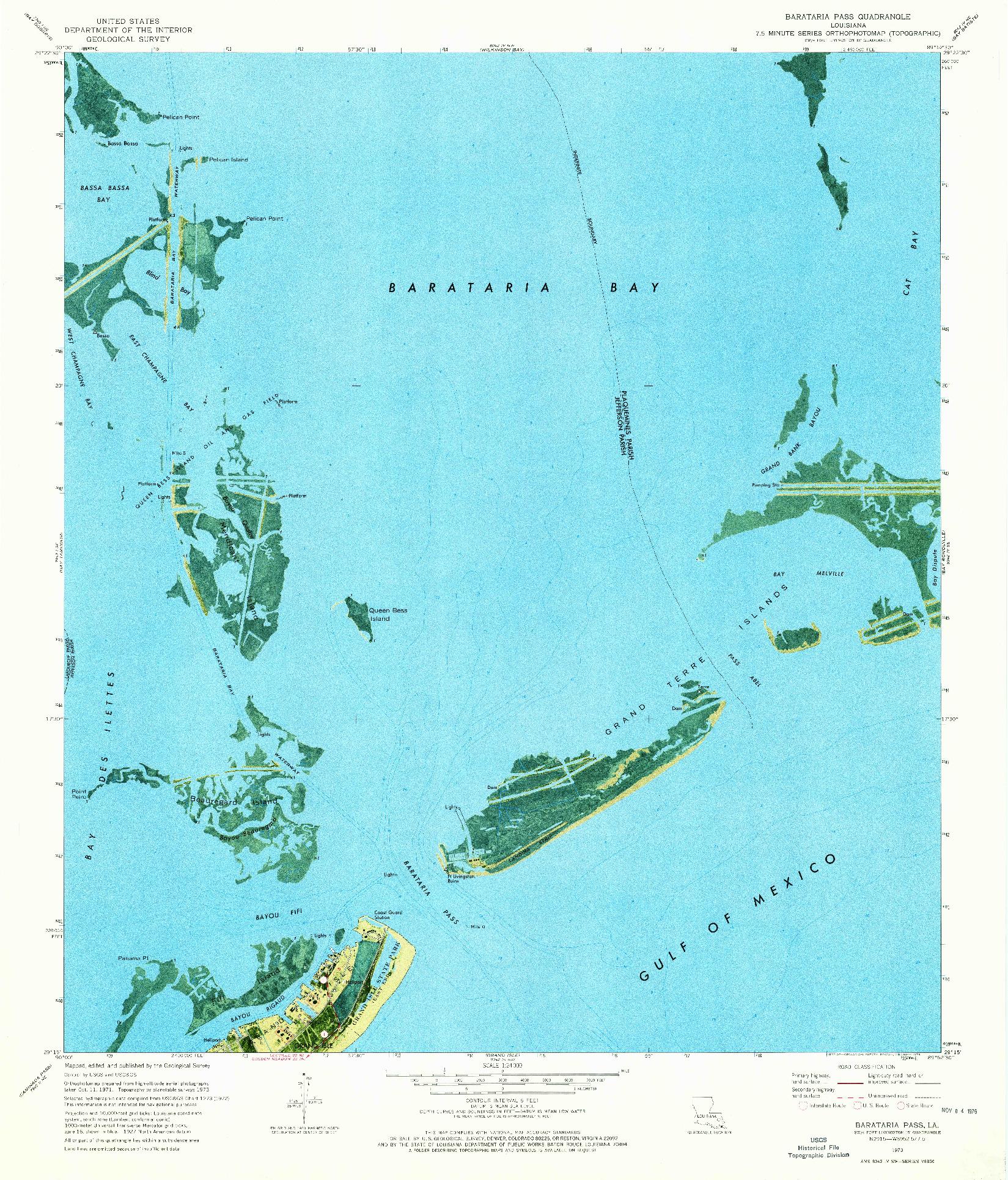 USGS 1:24000-SCALE QUADRANGLE FOR BARATARIA PASS, LA 1973
