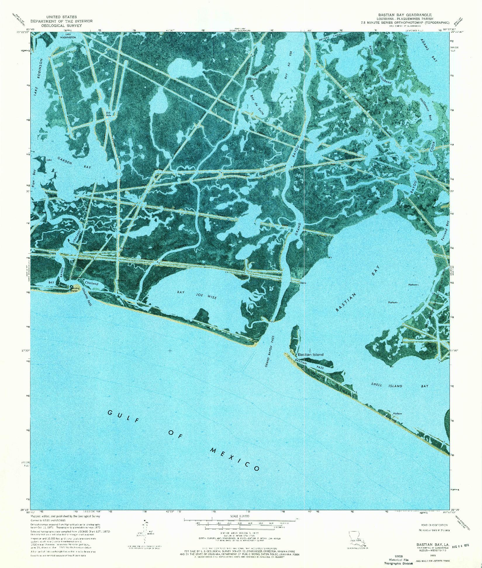 USGS 1:24000-SCALE QUADRANGLE FOR BASTIAN BAY, LA 1973