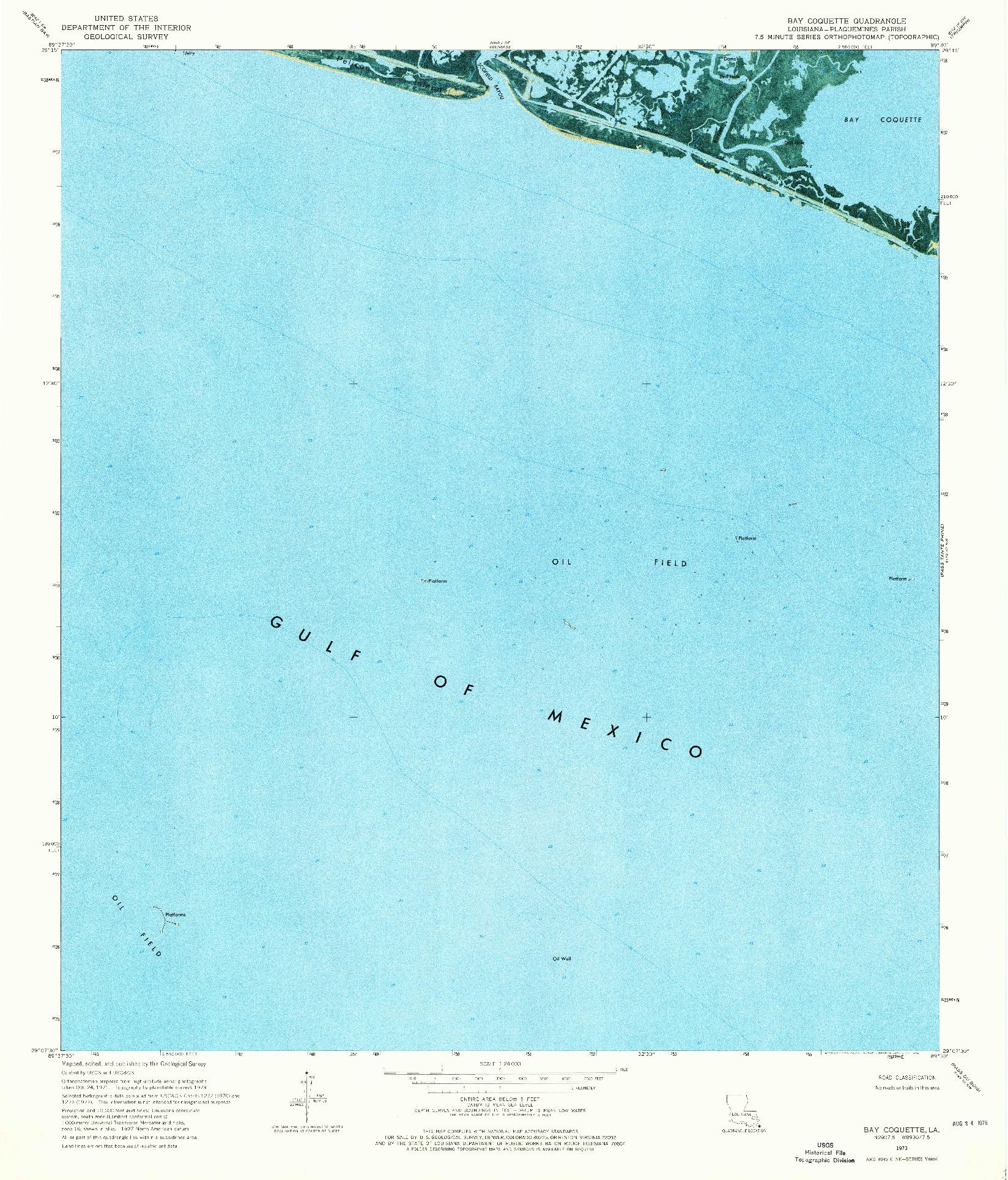 USGS 1:24000-SCALE QUADRANGLE FOR BAY COQUETTE, LA 1973
