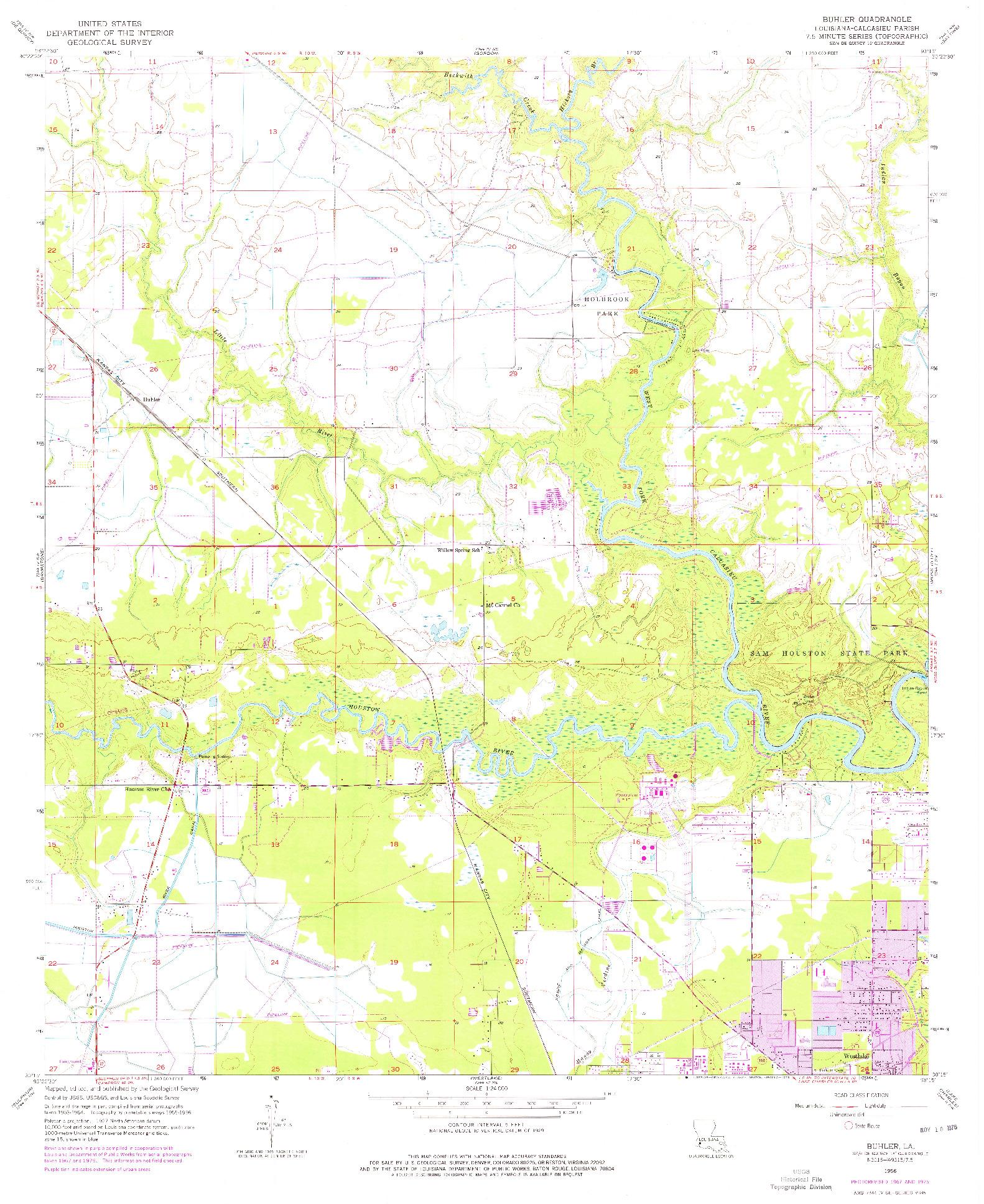 USGS 1:24000-SCALE QUADRANGLE FOR BUHLER, LA 1956