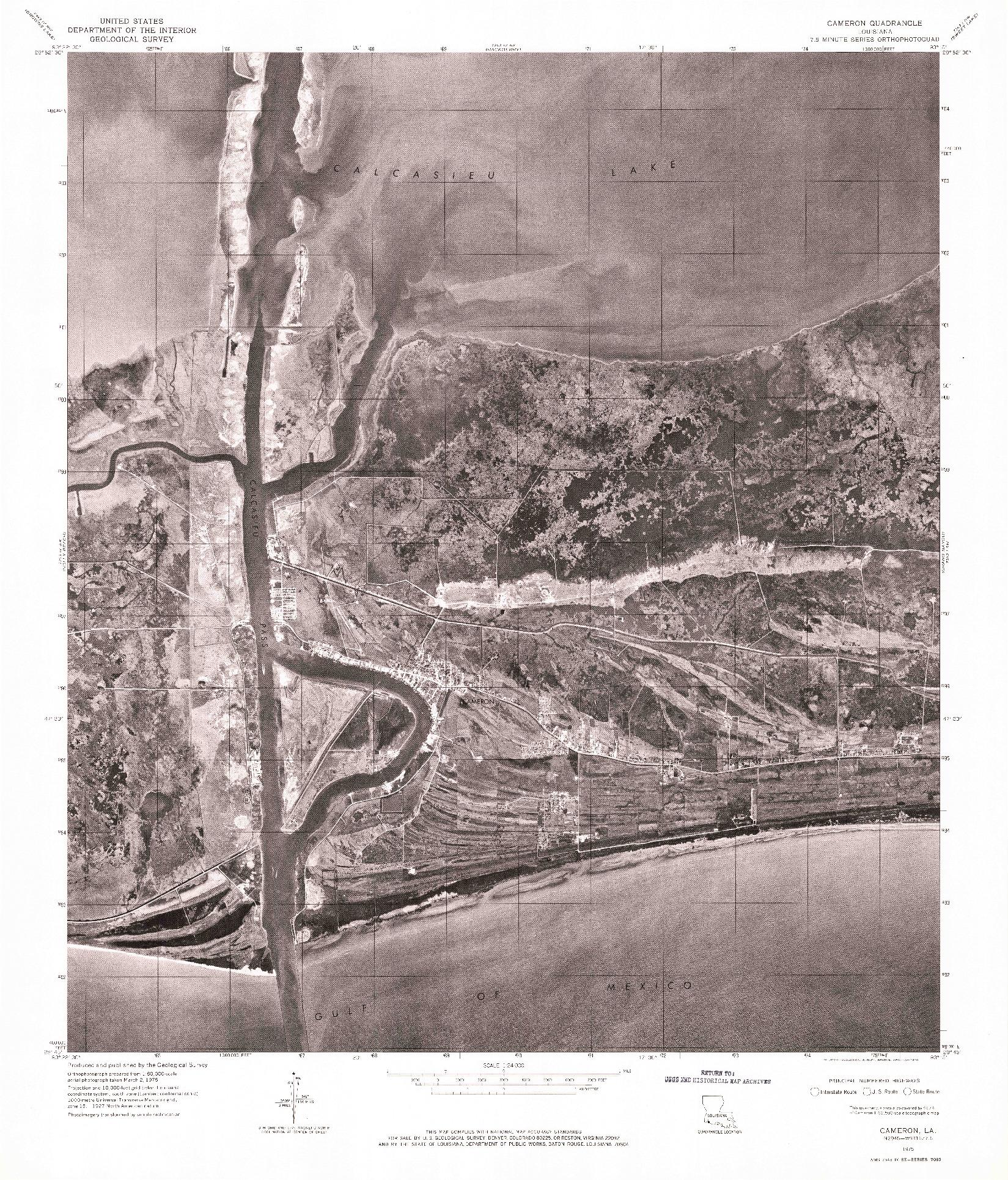 USGS 1:24000-SCALE QUADRANGLE FOR CAMERON, LA 1975