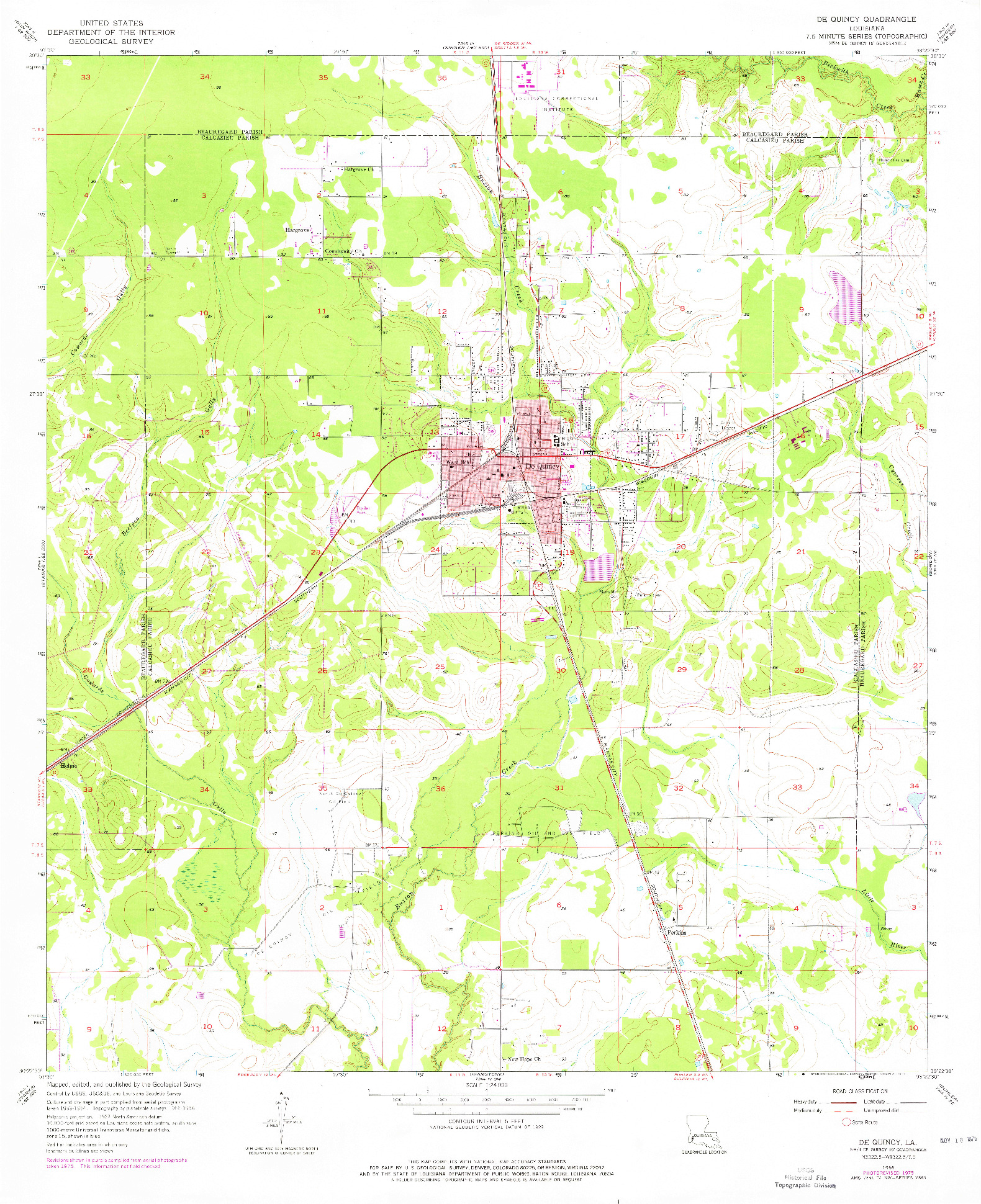 USGS 1:24000-SCALE QUADRANGLE FOR DE QUINCY, LA 1956