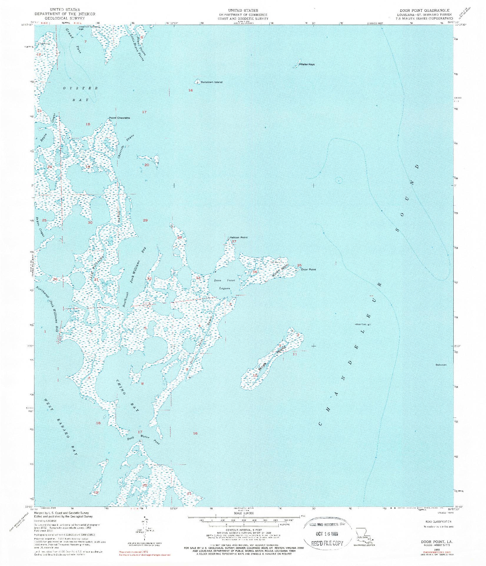 USGS 1:24000-SCALE QUADRANGLE FOR DOOR POINT, LA 1955