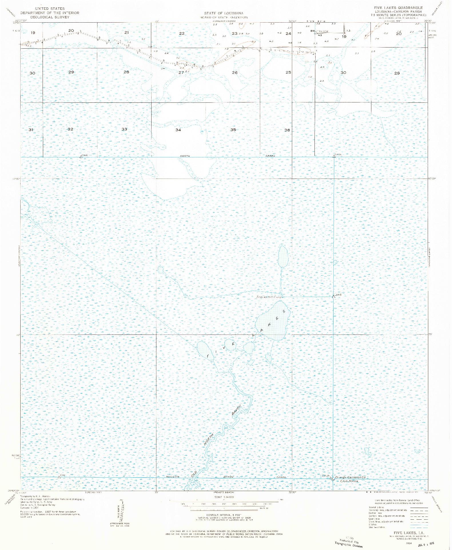 USGS 1:24000-SCALE QUADRANGLE FOR FIVE LAKES, LA 1934