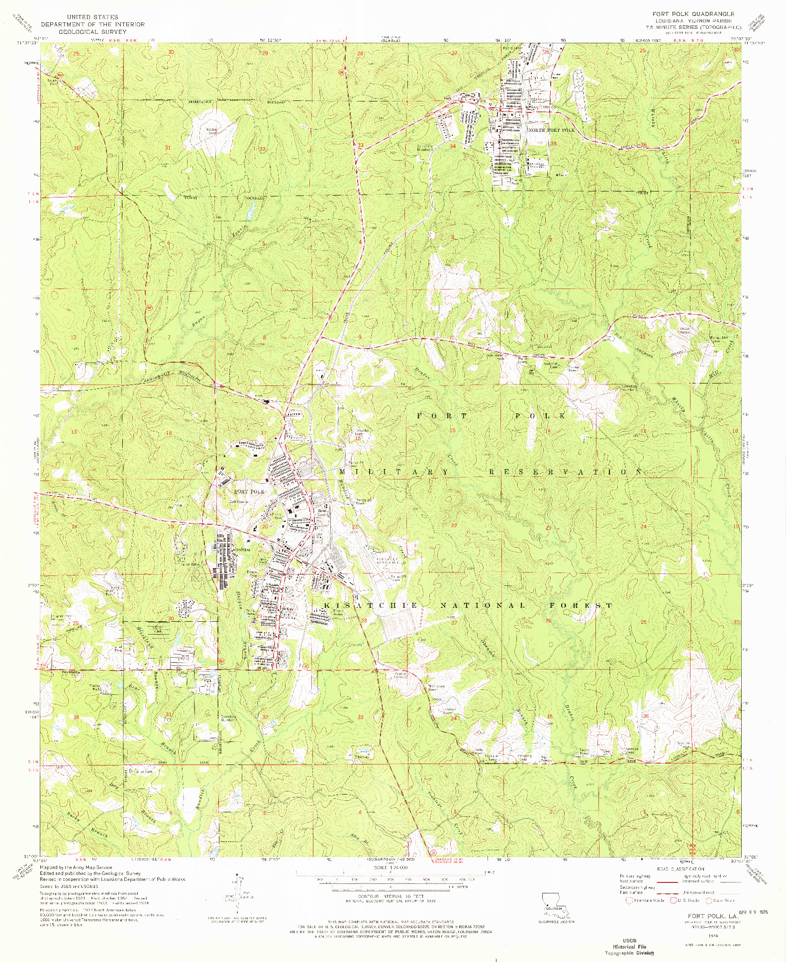 USGS 1:24000-SCALE QUADRANGLE FOR FORT POLK, LA 1974