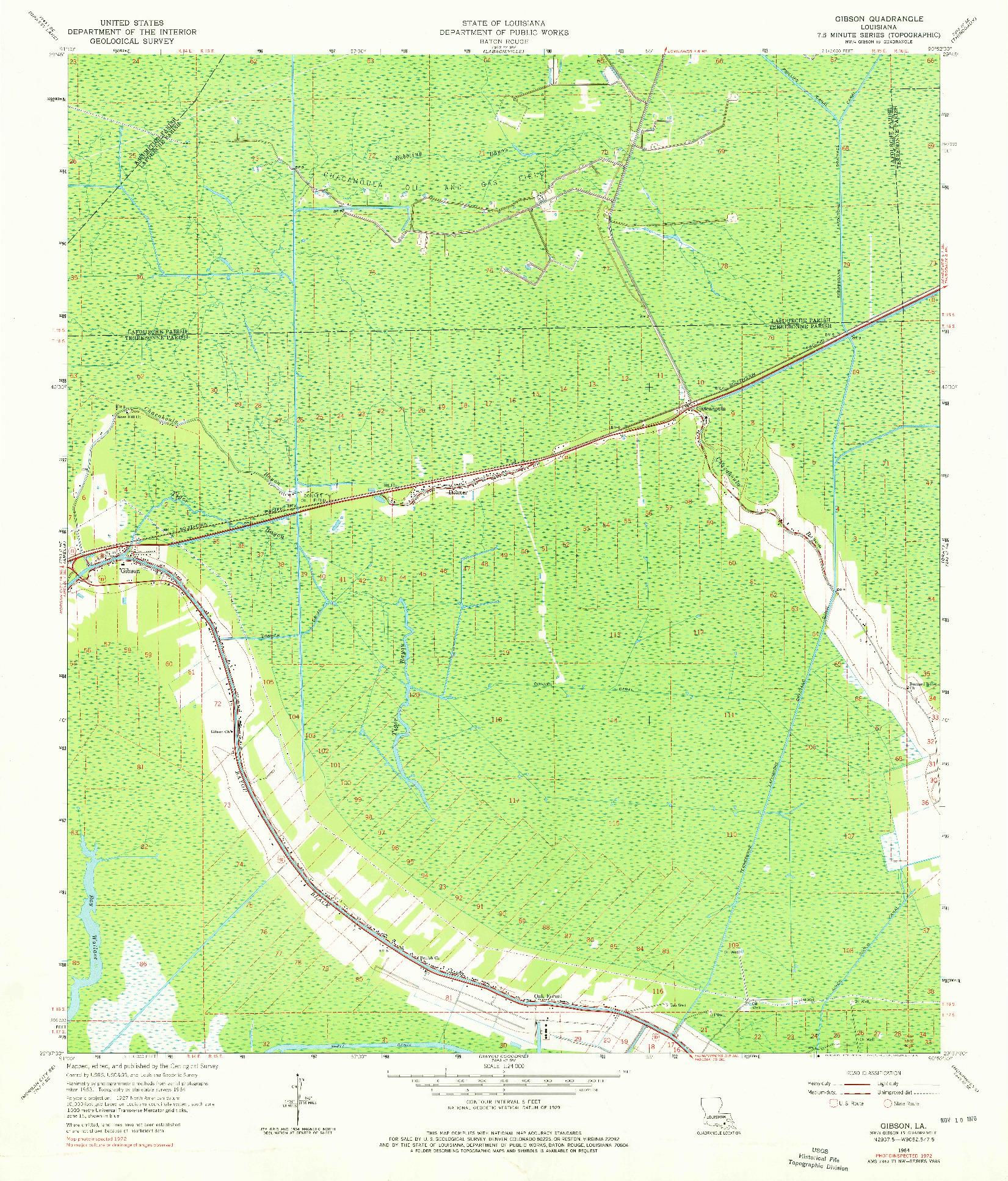 USGS 1:24000-SCALE QUADRANGLE FOR GIBSON, LA 1964
