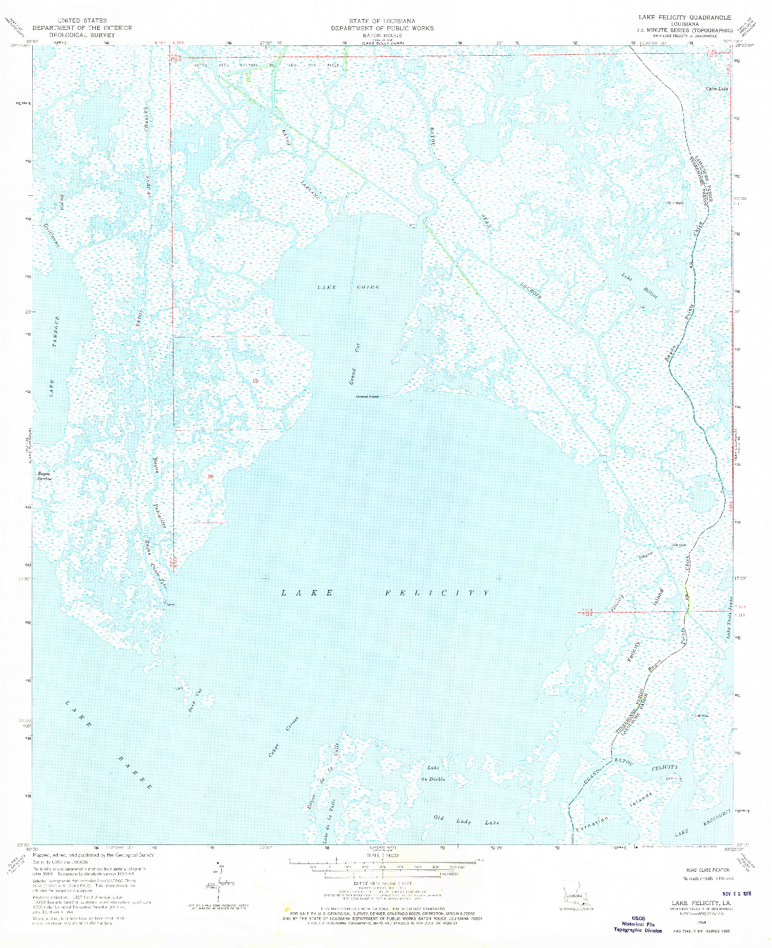 USGS 1:24000-SCALE QUADRANGLE FOR LAKE FELICITY, LA 1964
