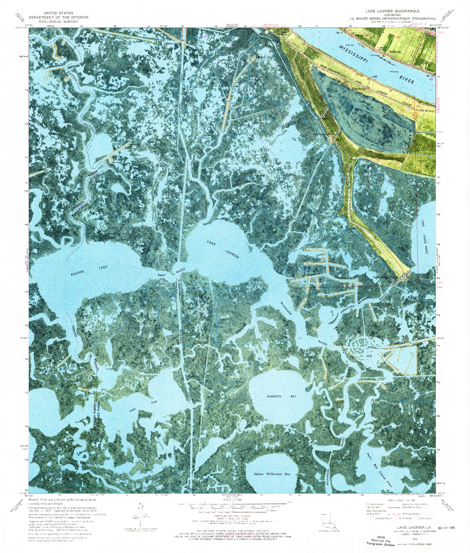 USGS 1:24000-SCALE QUADRANGLE FOR LAKE LAURIER, LA 1973