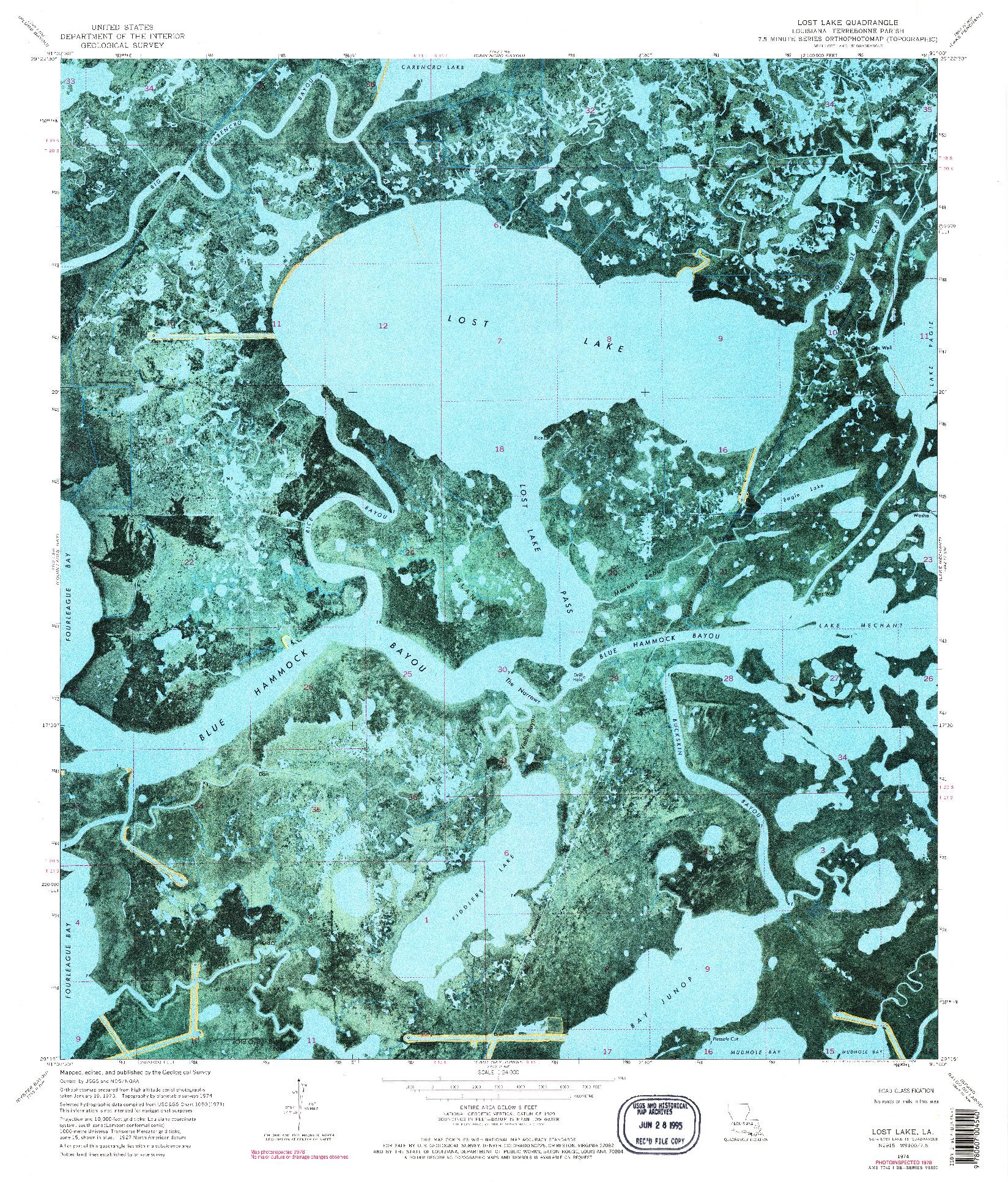 USGS 1:24000-SCALE QUADRANGLE FOR LOST LAKE, LA 1974