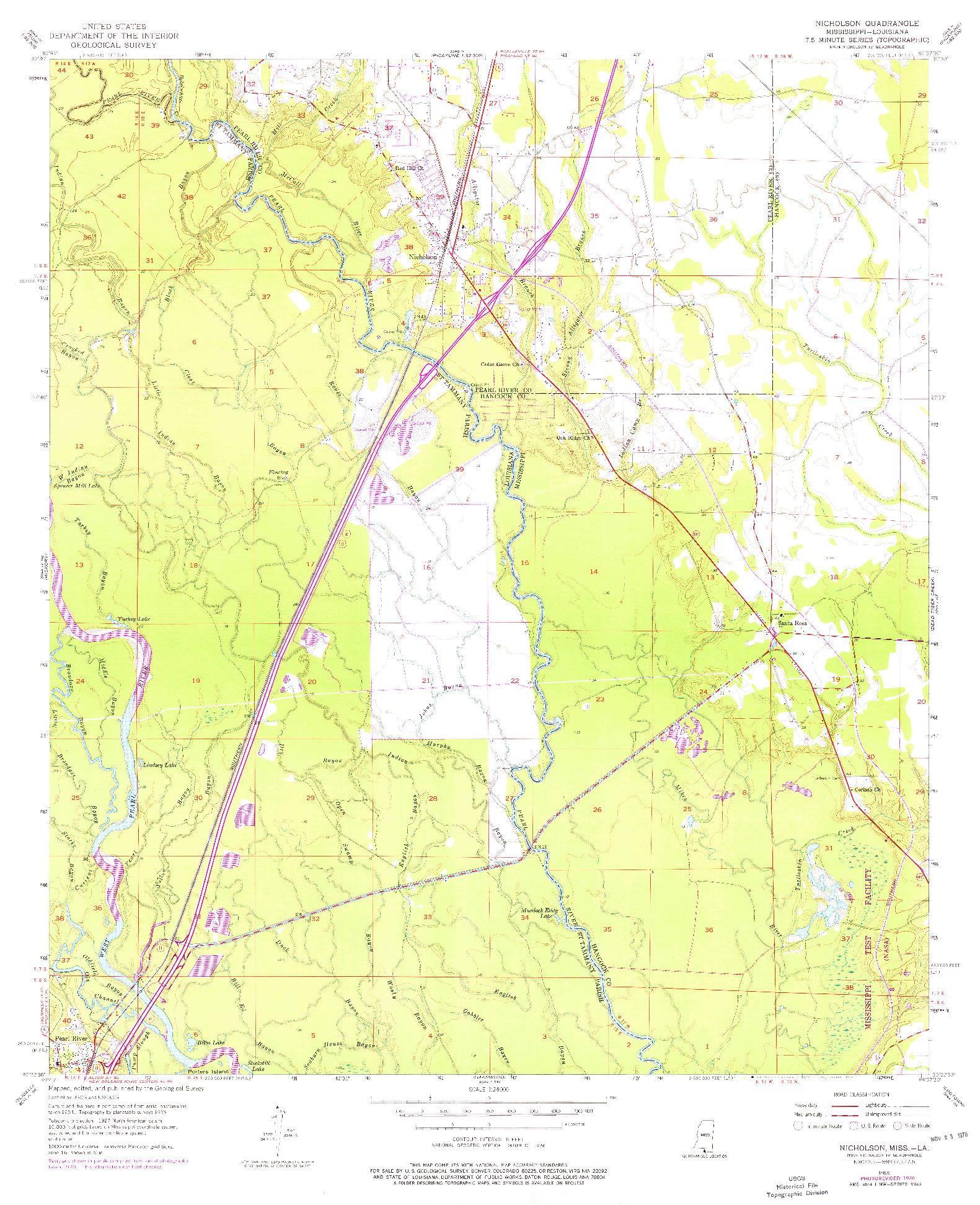 USGS 1:24000-SCALE QUADRANGLE FOR NICHOLSON, LA 1955