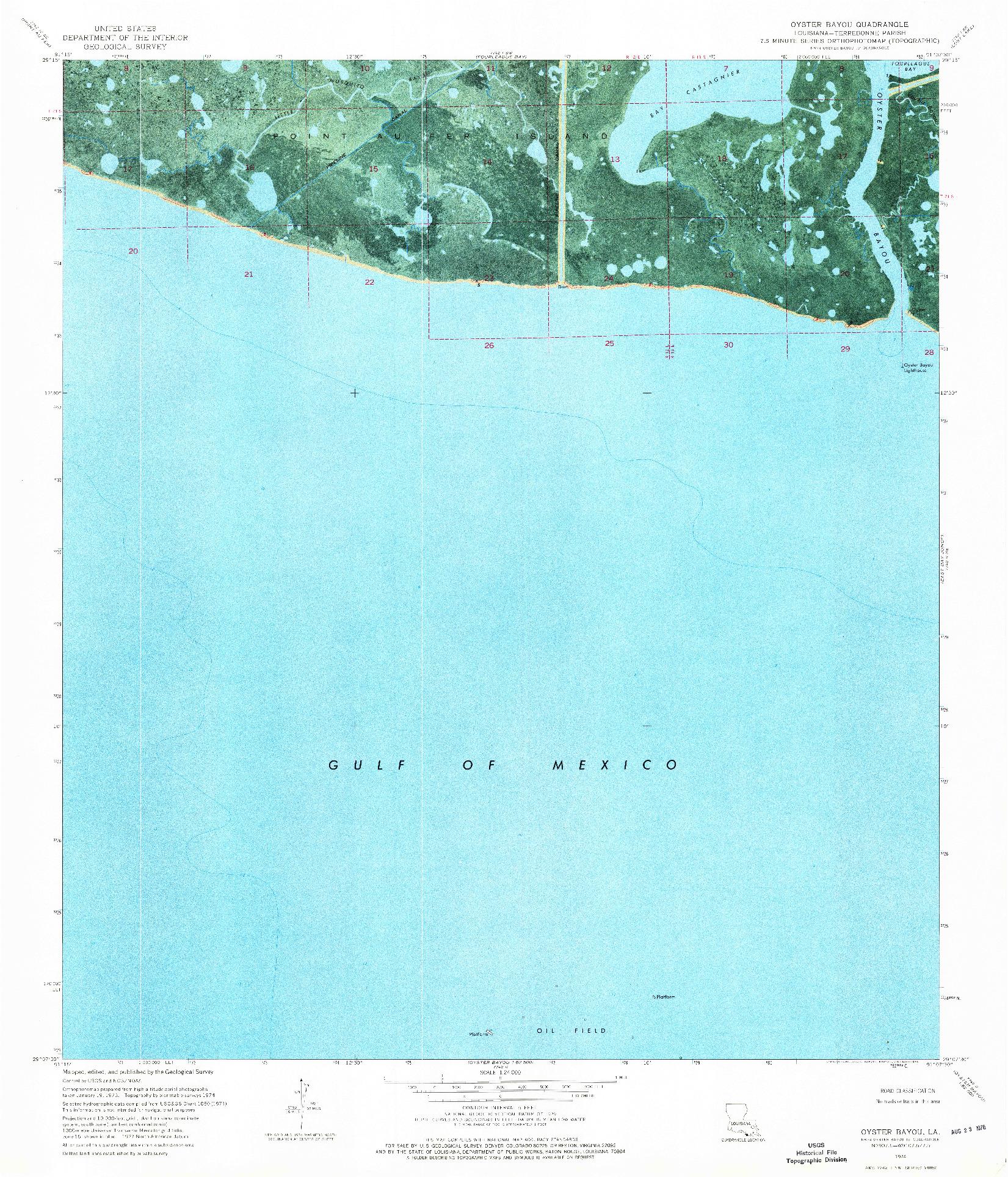 USGS 1:24000-SCALE QUADRANGLE FOR OYSTER BAYOU, LA 1974