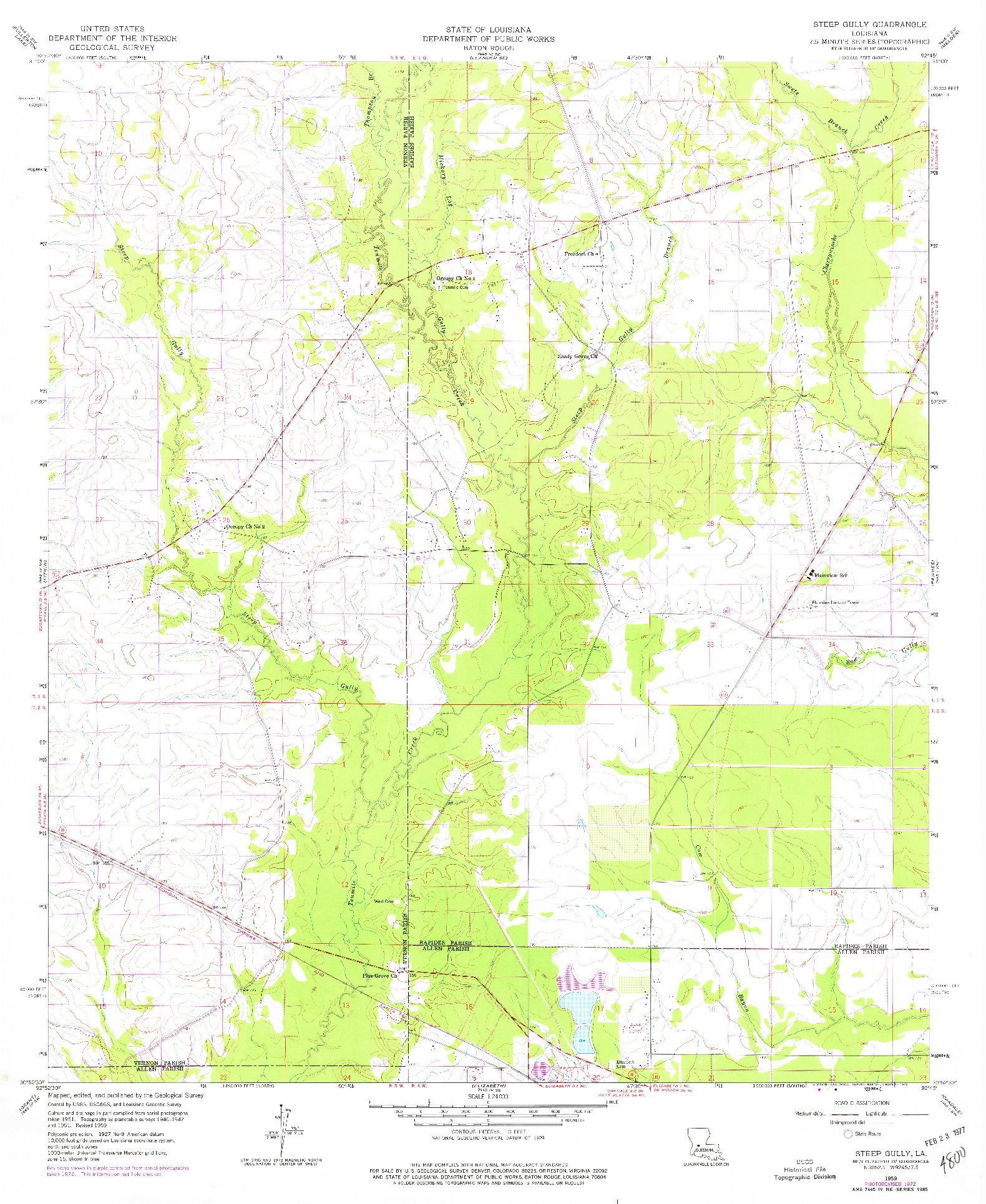 USGS 1:24000-SCALE QUADRANGLE FOR STEEP GULLY, LA 1959