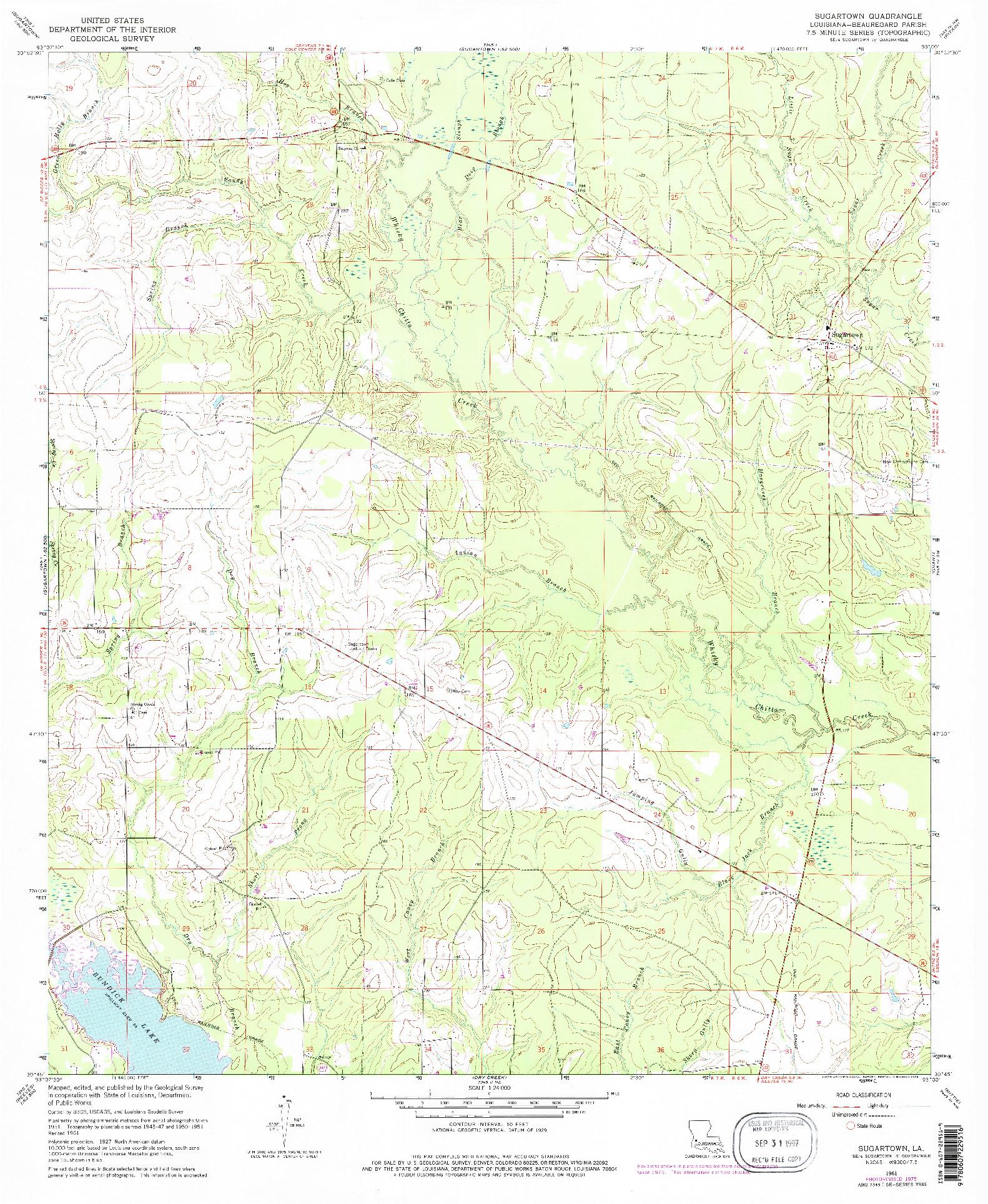 USGS 1:24000-SCALE QUADRANGLE FOR SUGARTOWN, LA 1961