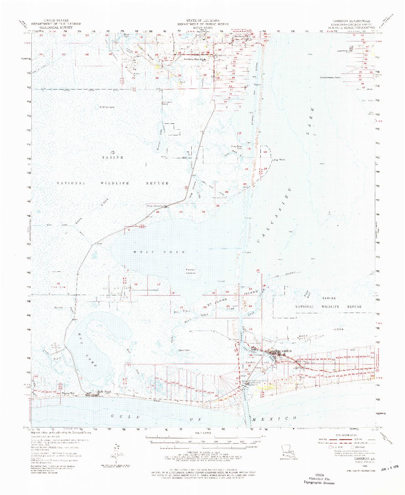 USGS 1:62500-SCALE QUADRANGLE FOR CAMERON, LA 1955