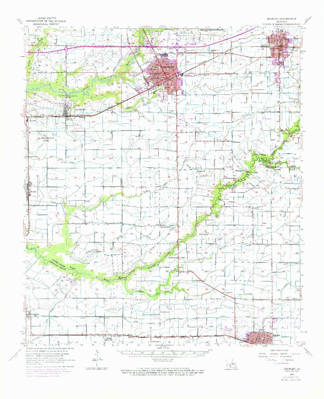 USGS 1:62500-SCALE QUADRANGLE FOR CROWLEY, LA 1955