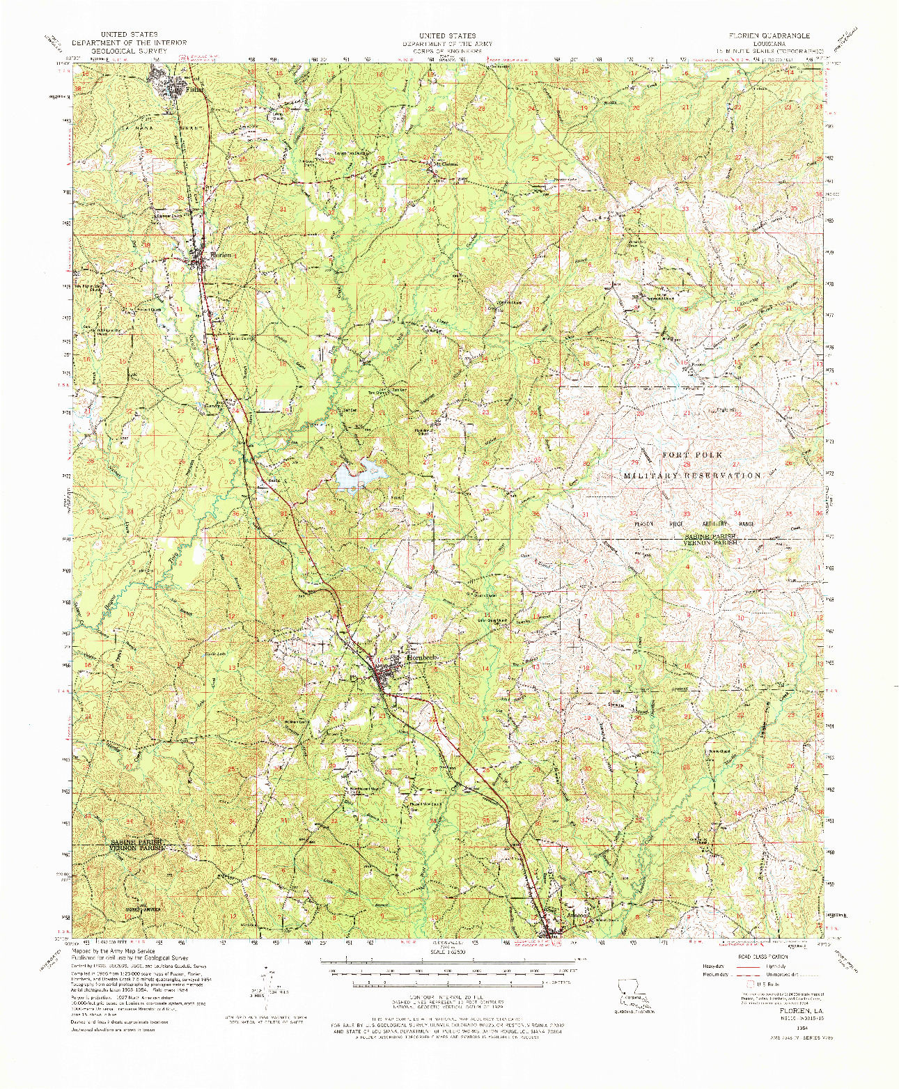 USGS 1:62500-SCALE QUADRANGLE FOR FLORIEN, LA 1954