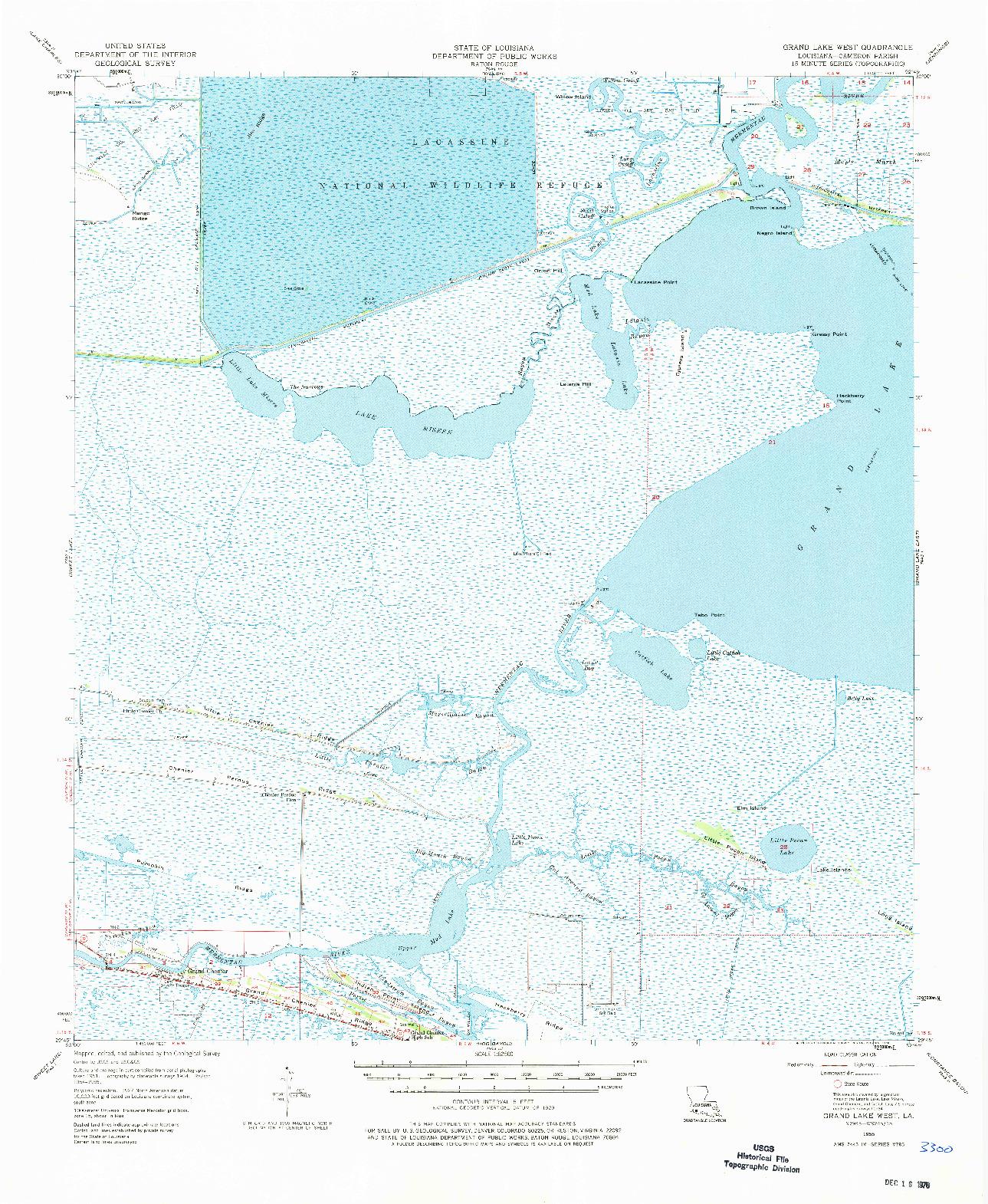 USGS 1:62500-SCALE QUADRANGLE FOR GRAND LAKE WEST, LA 1955