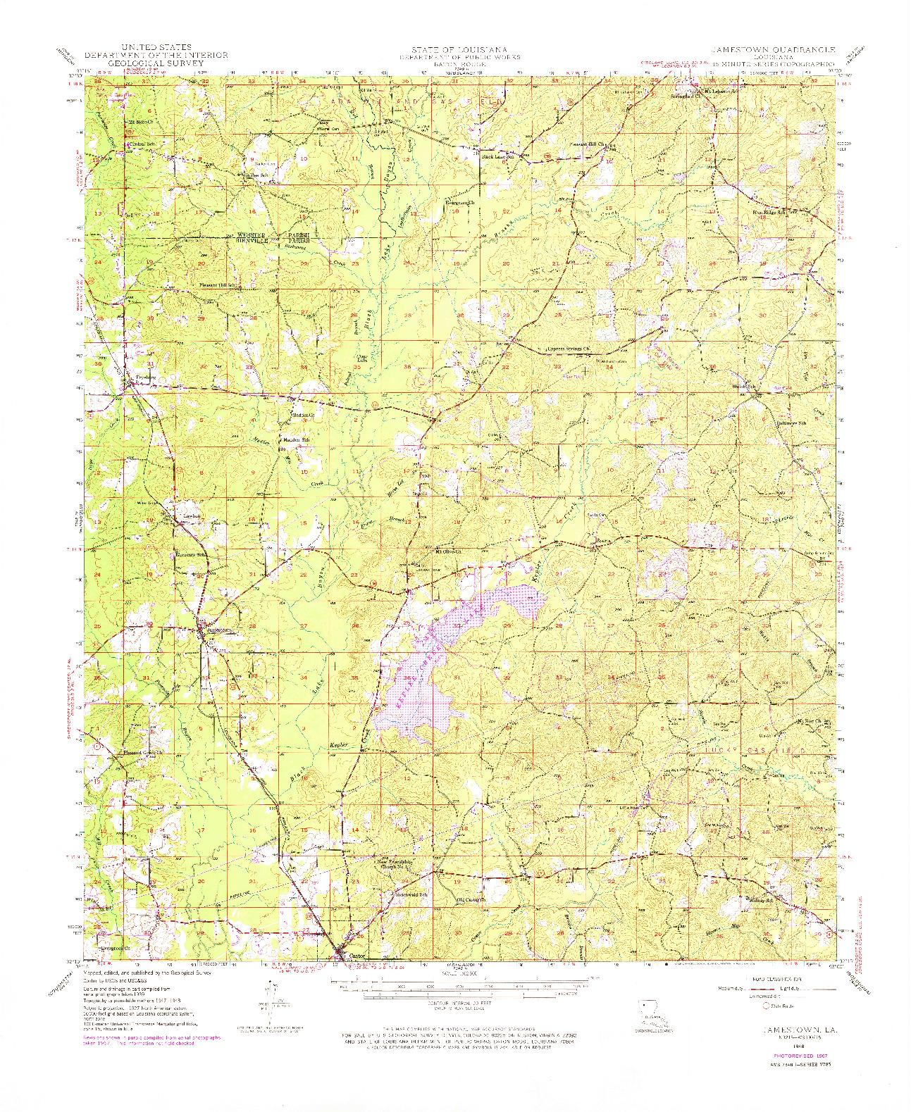 USGS 1:62500-SCALE QUADRANGLE FOR JAMESTOWN, LA 1948