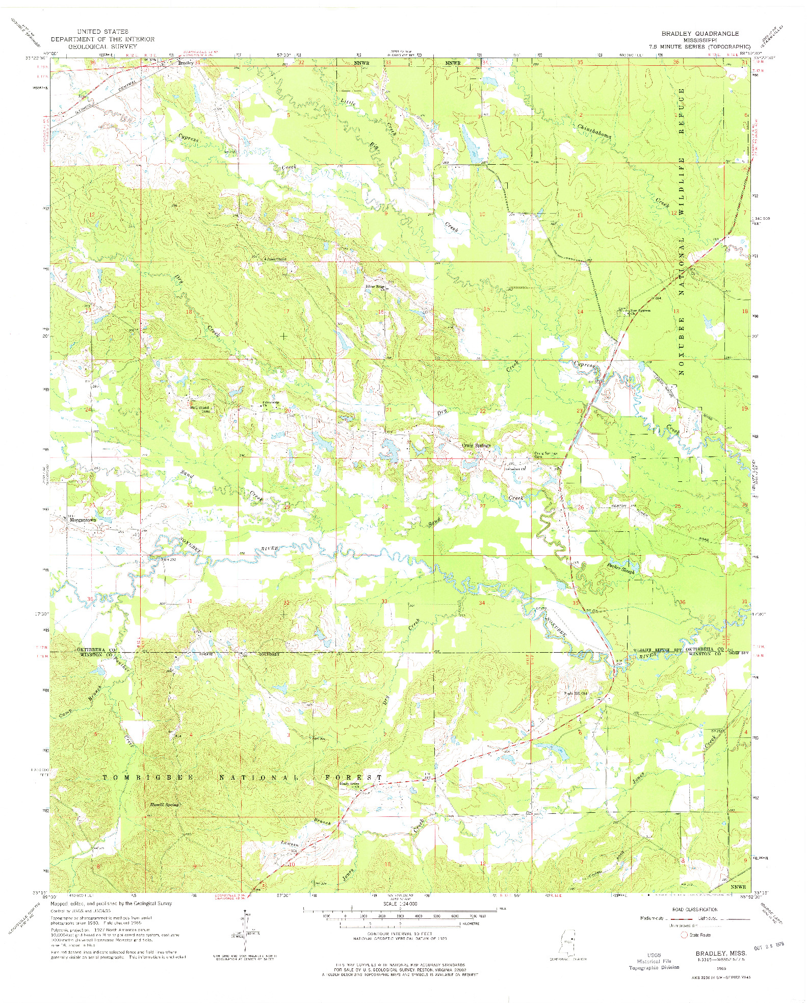 USGS 1:24000-SCALE QUADRANGLE FOR BRADLEY, MS 1965