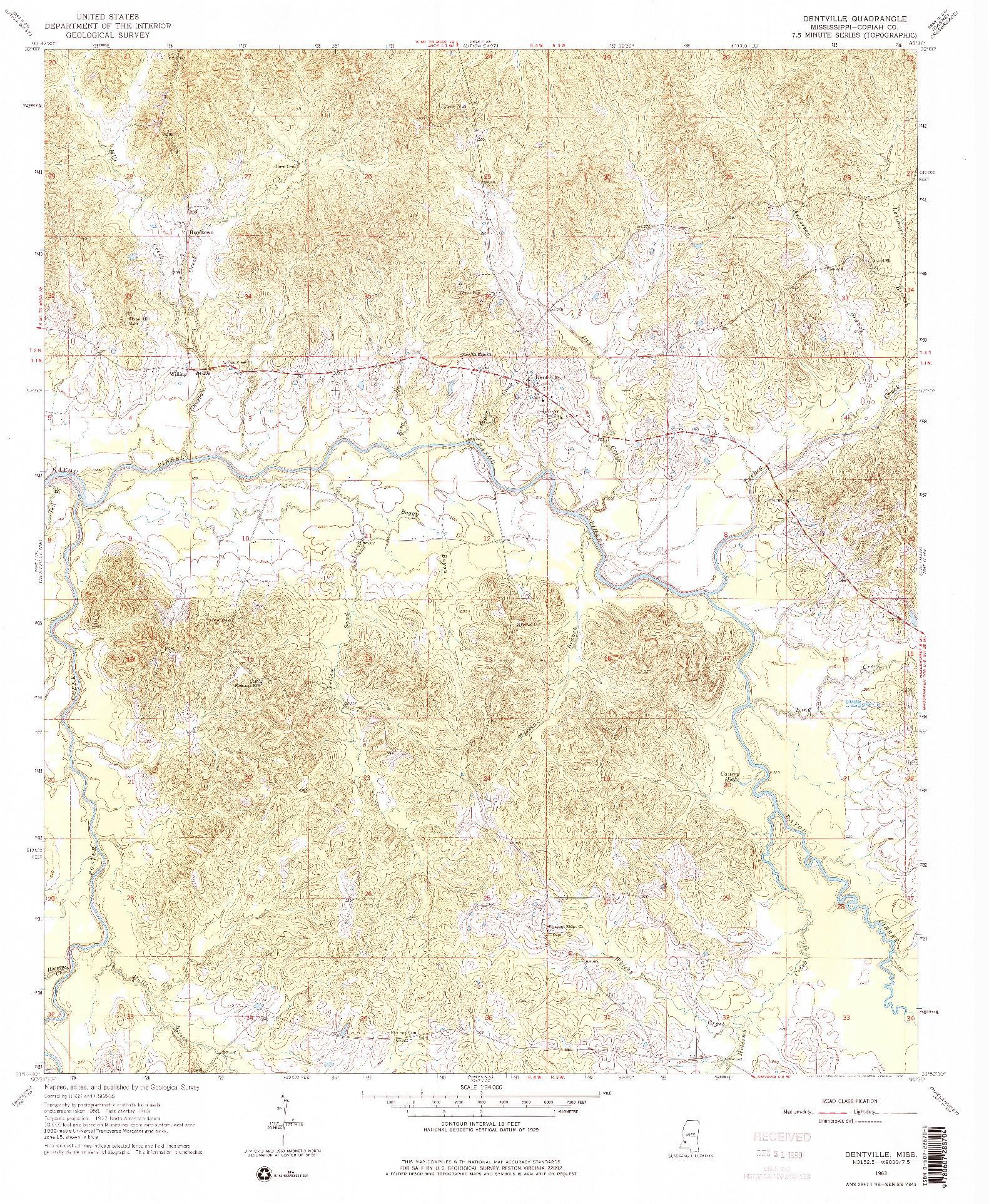 USGS 1:24000-SCALE QUADRANGLE FOR DENTVILLE, MS 1963