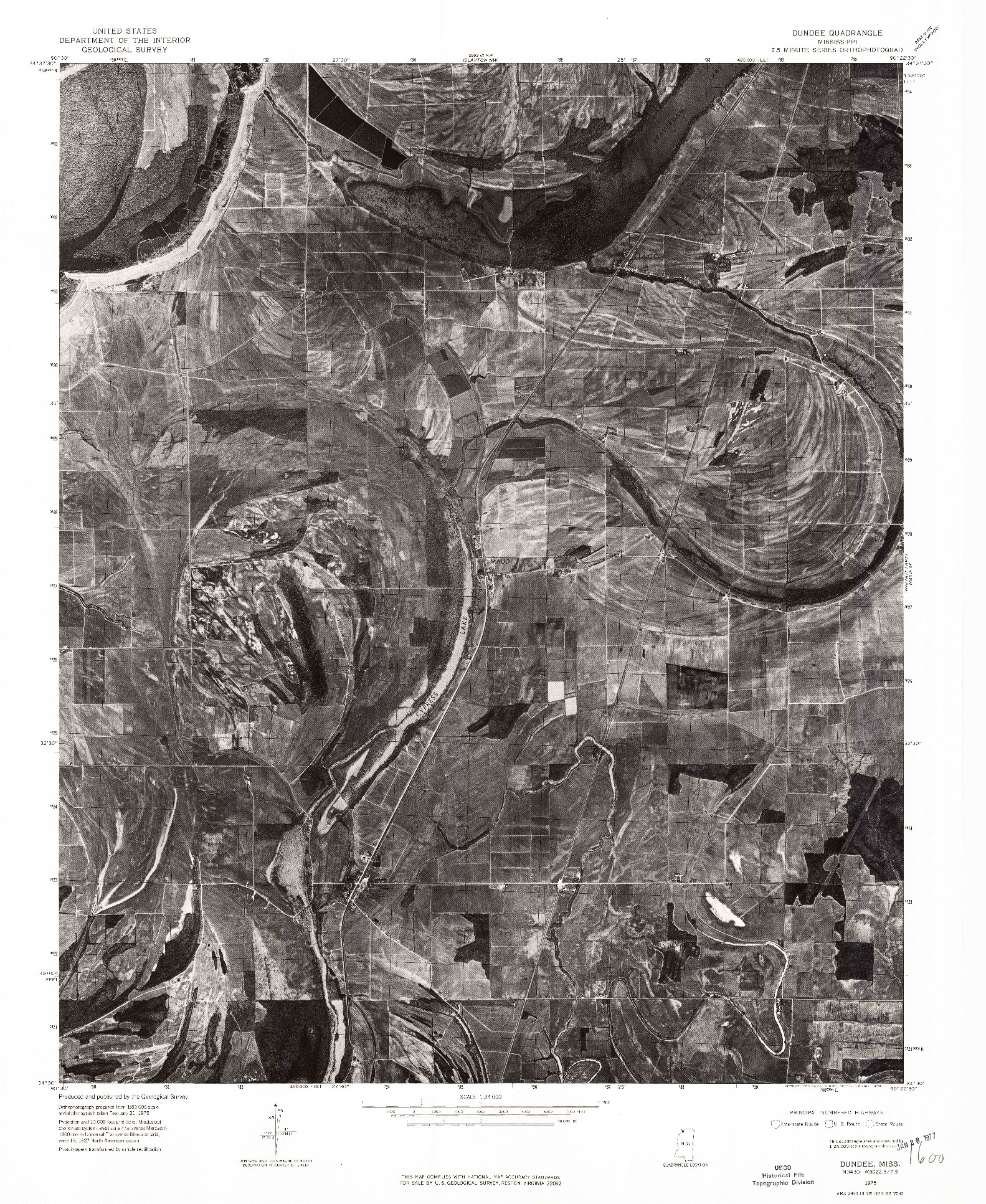 USGS 1:24000-SCALE QUADRANGLE FOR DUNDEE, MS 1975