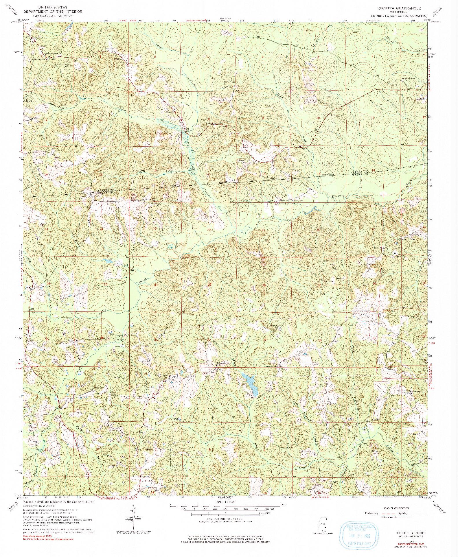 USGS 1:24000-SCALE QUADRANGLE FOR EUCUTTA, MS 1964