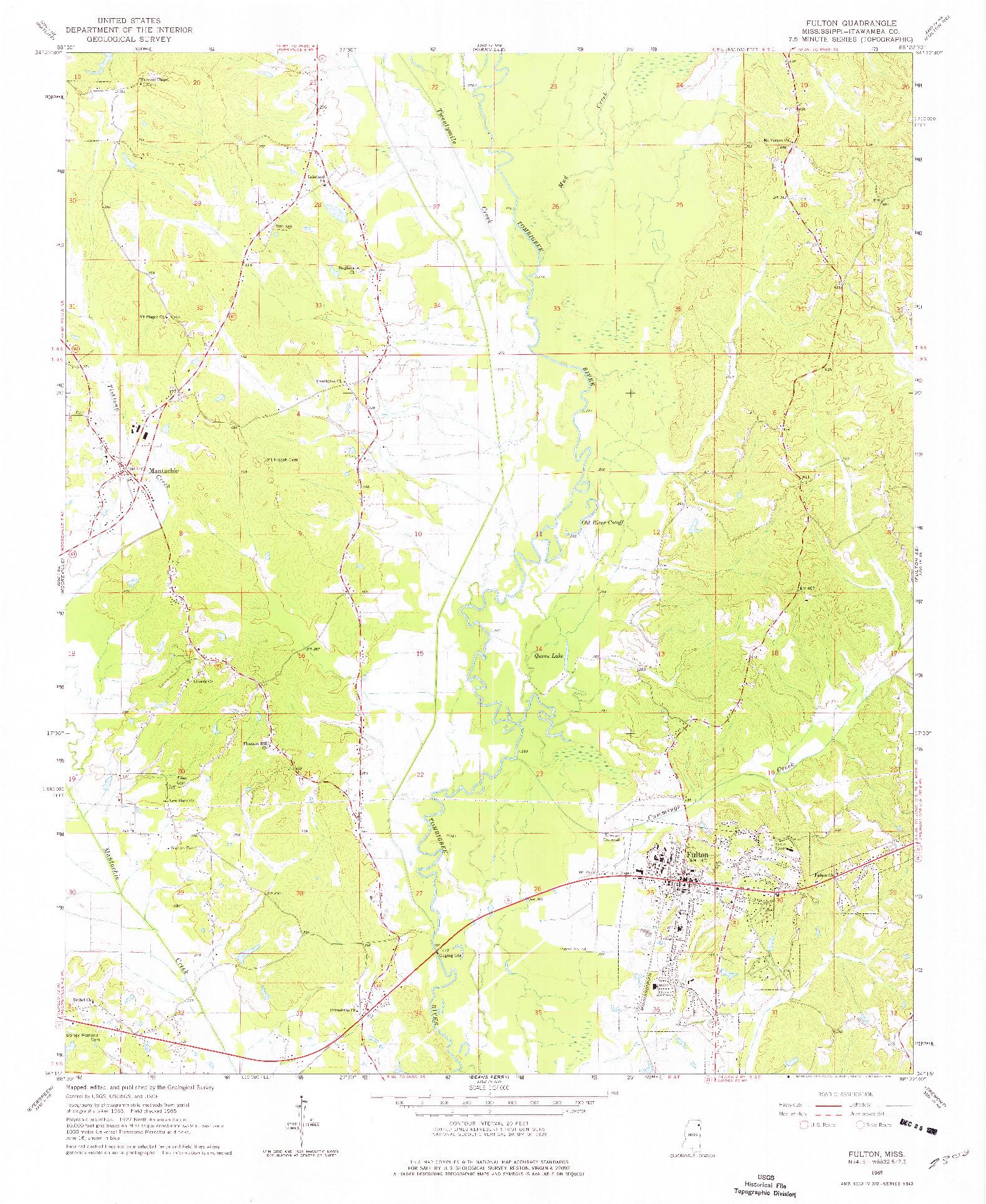 USGS 1:24000-SCALE QUADRANGLE FOR FULTON, MS 1965