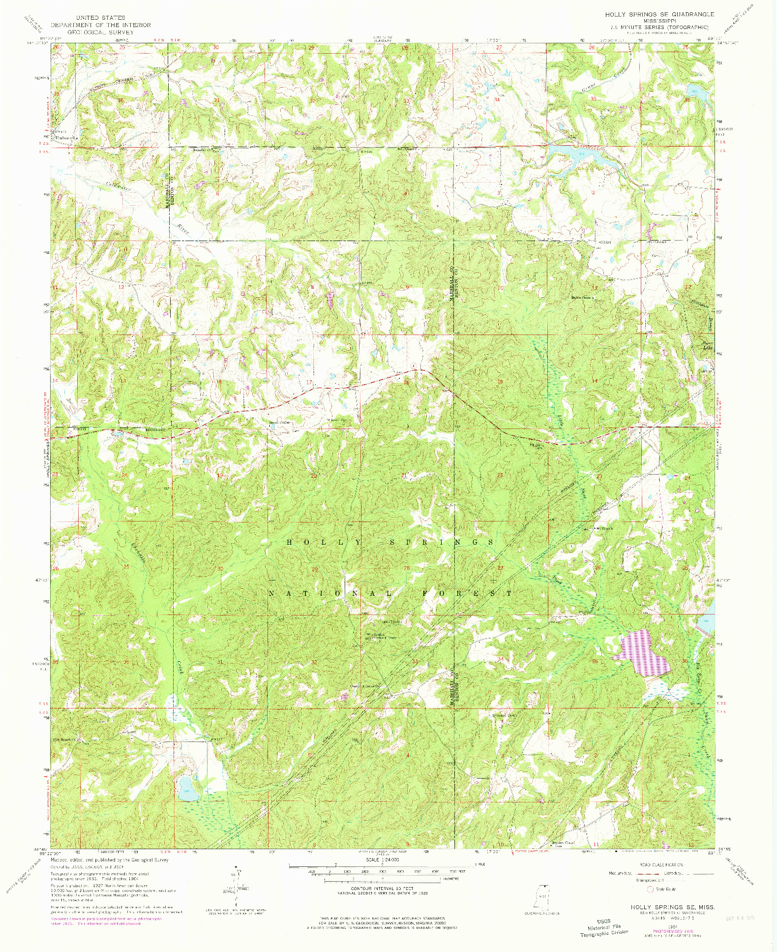 USGS 1:24000-SCALE QUADRANGLE FOR HOLLY SPRINGS SE, MS 1964