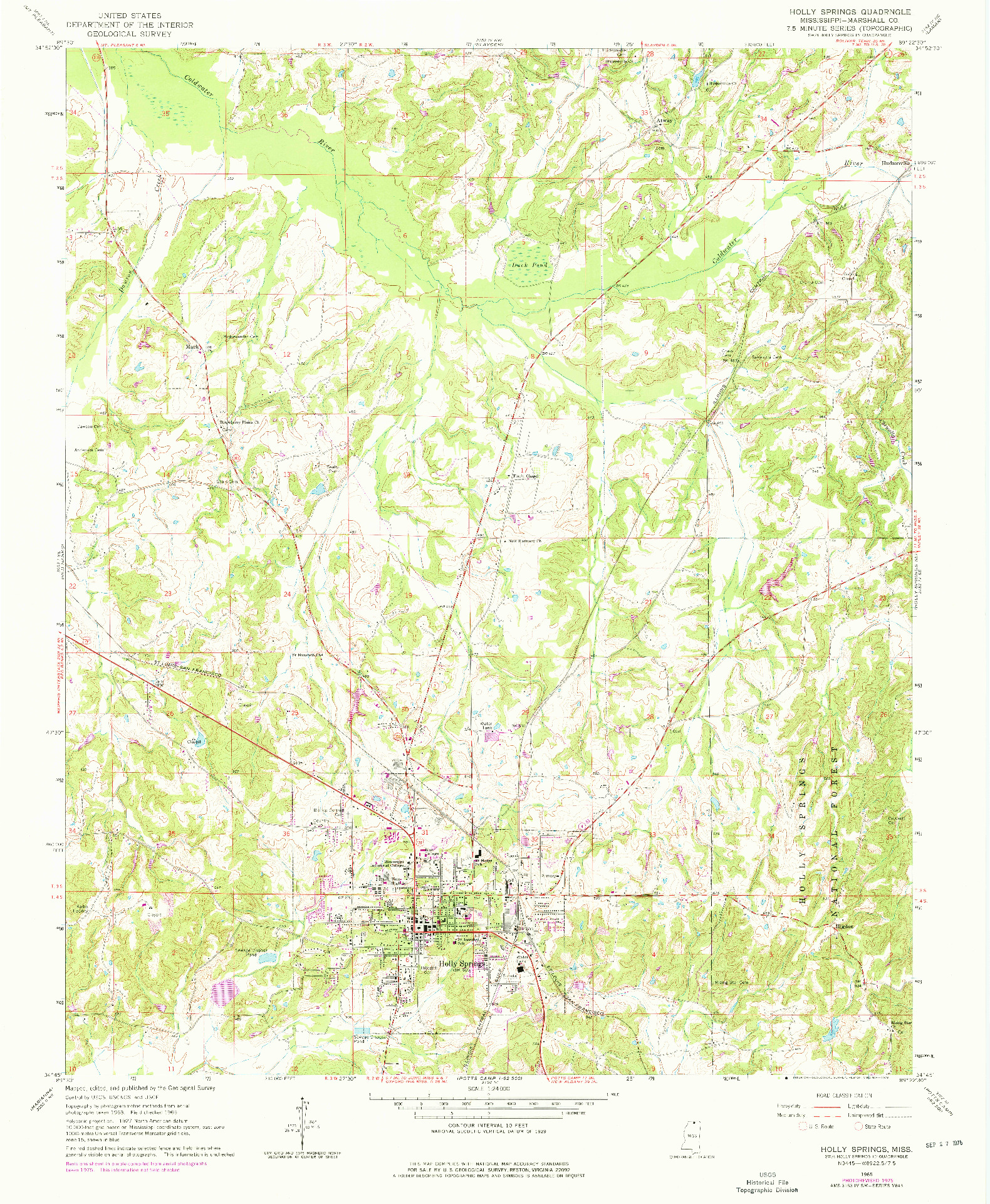USGS 1:24000-SCALE QUADRANGLE FOR HOLLY SPRINGS, MS 1965