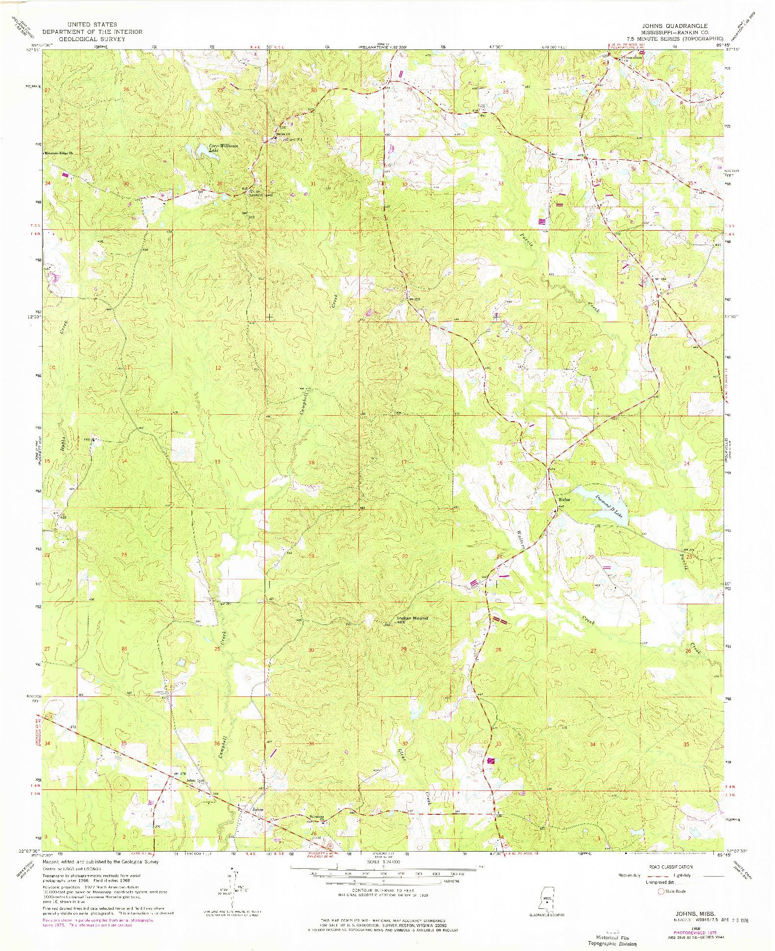 USGS 1:24000-SCALE QUADRANGLE FOR JOHNS, MS 1968