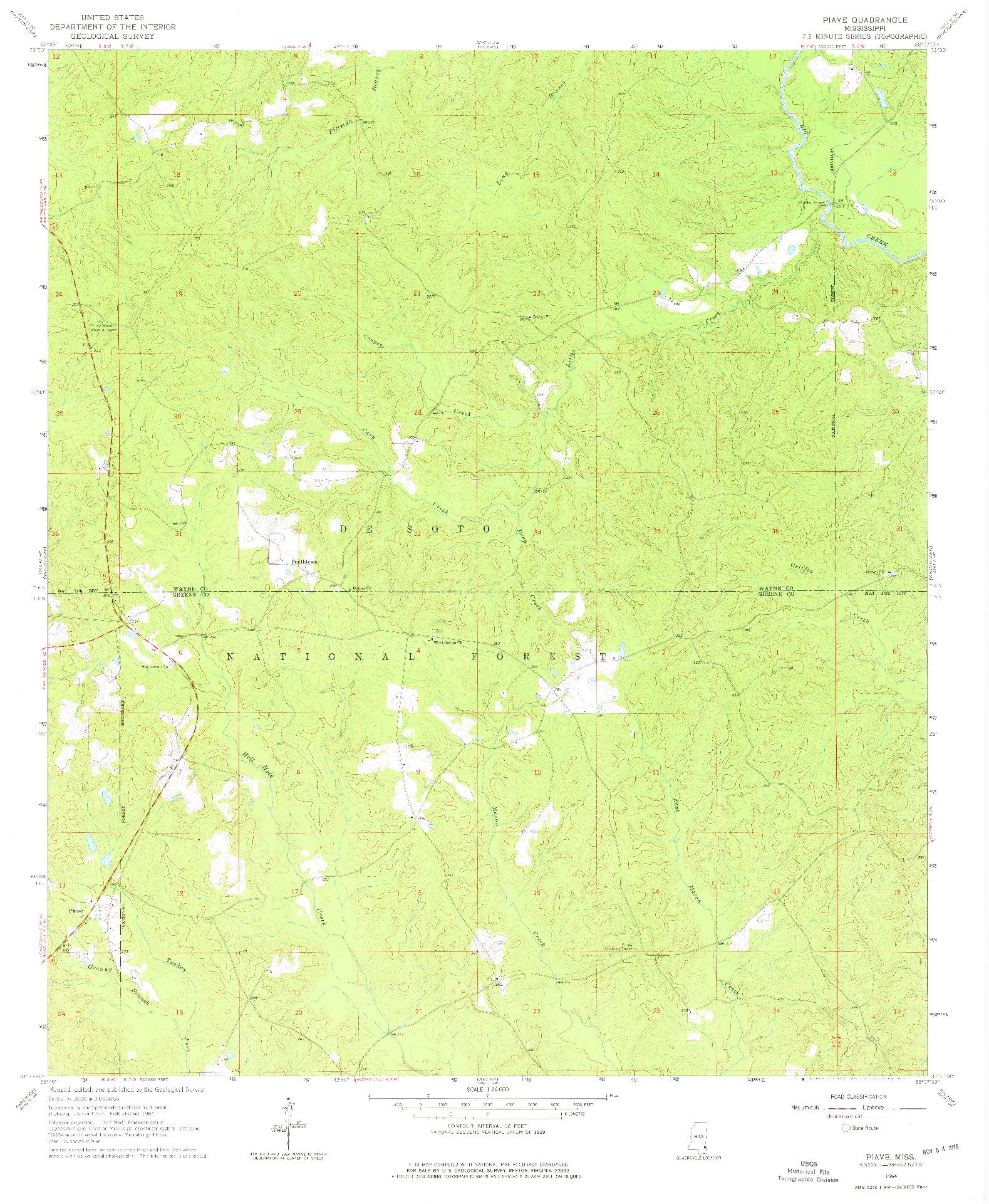 USGS 1:24000-SCALE QUADRANGLE FOR PIAVE, MS 1964