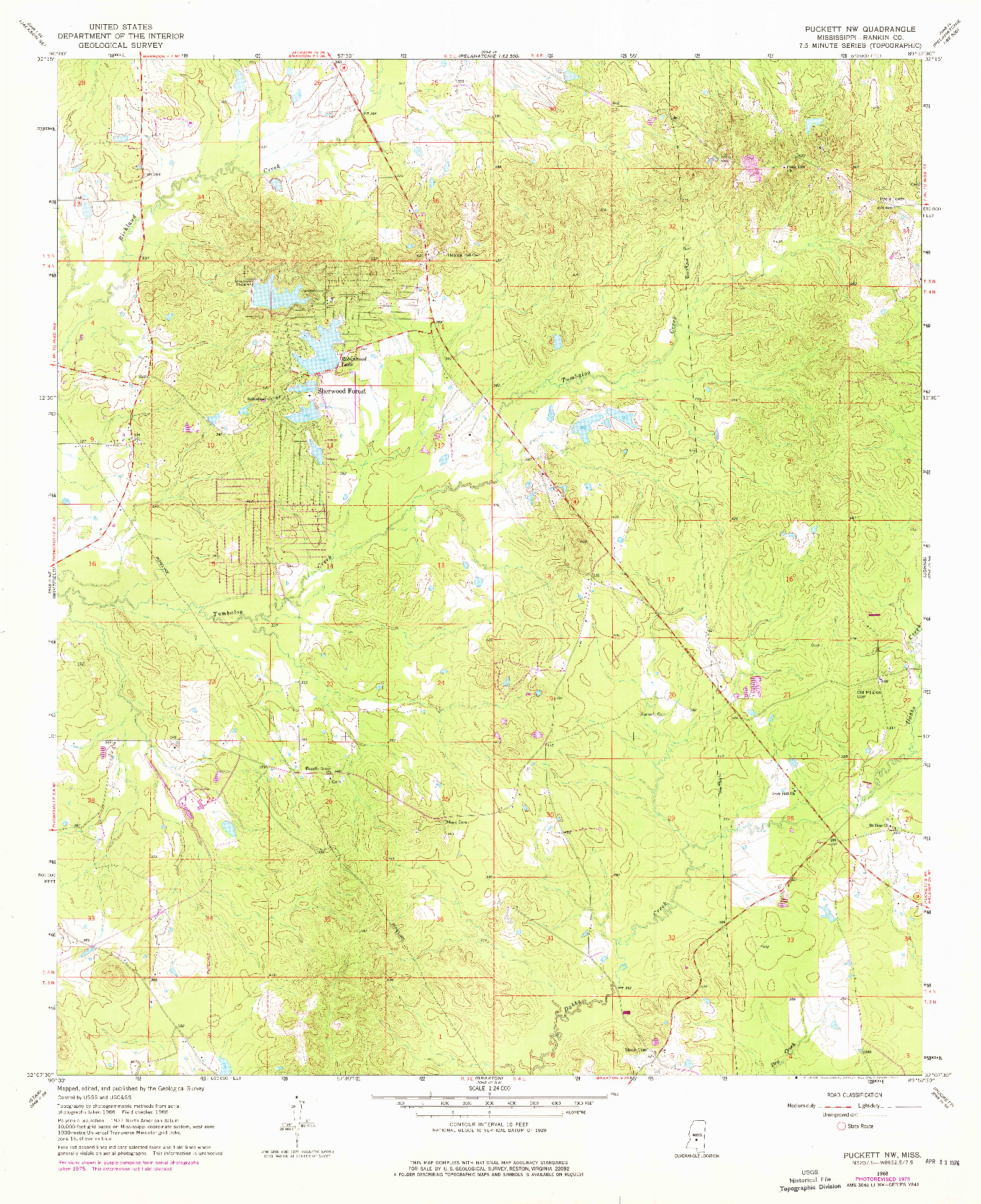 USGS 1:24000-SCALE QUADRANGLE FOR PUCKETT NW, MS 1968